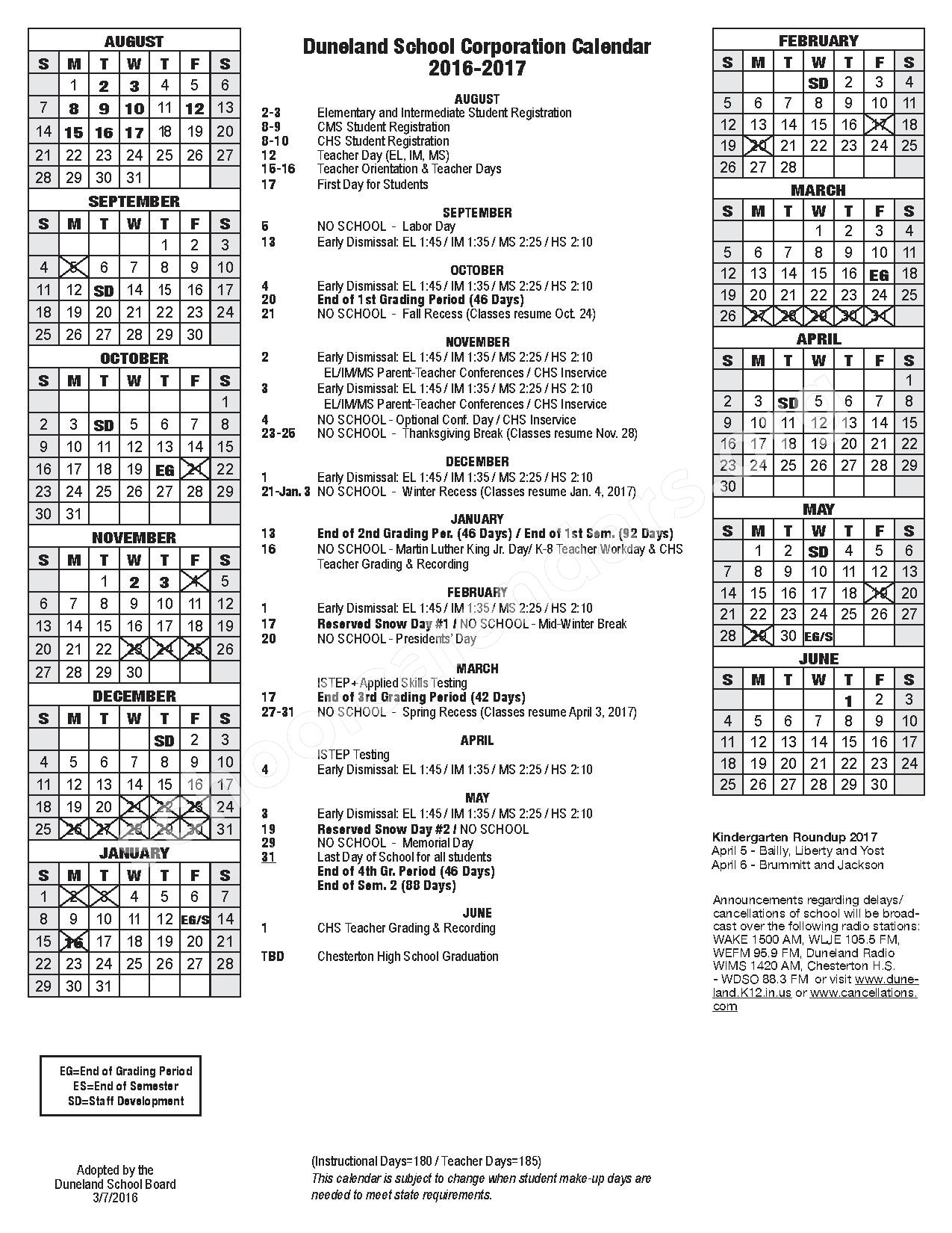 2016 - 2017 Academic Calendar – Duneland School Corporation – page 1