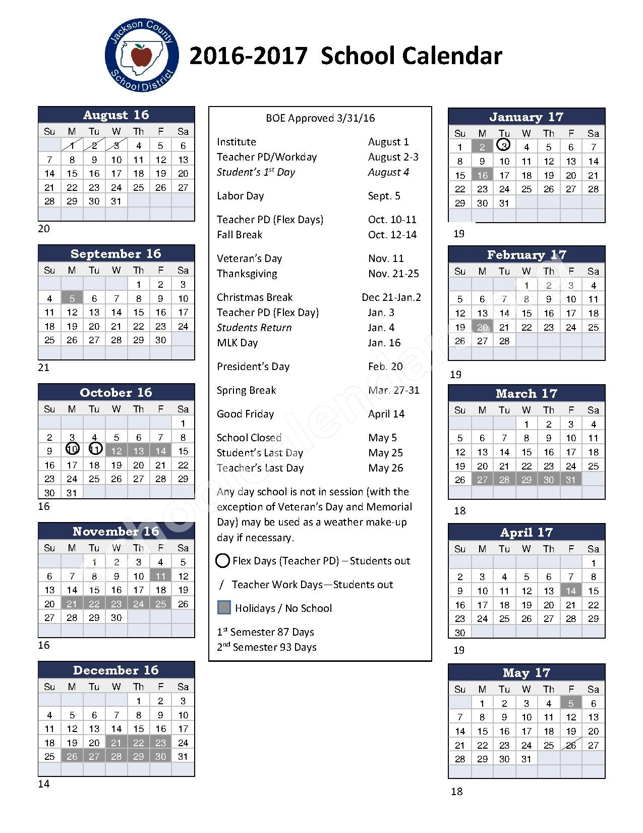 2016 - 2017 District Calendar – North Jackson High School – page 1