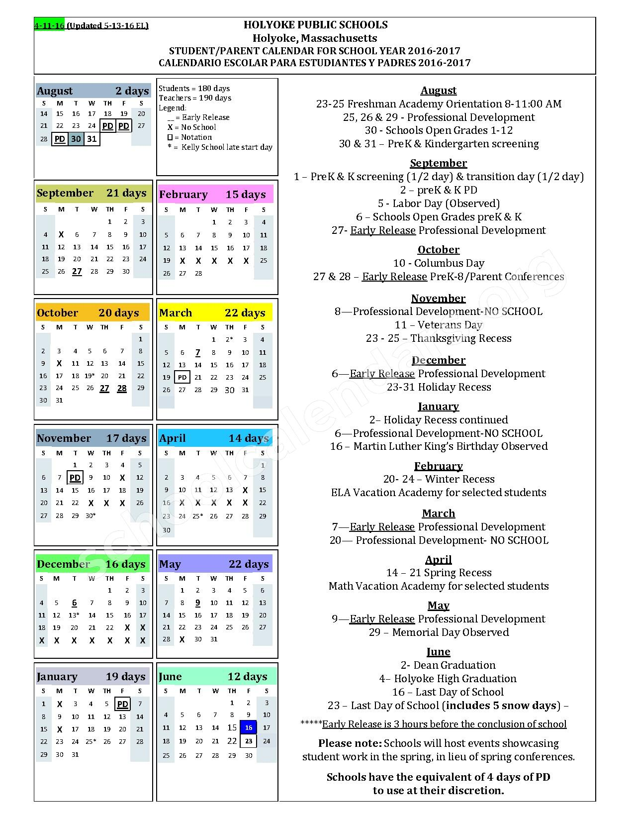 2016 - 2017 District Calendar – William J Dean Vocational Technical High School – page 1