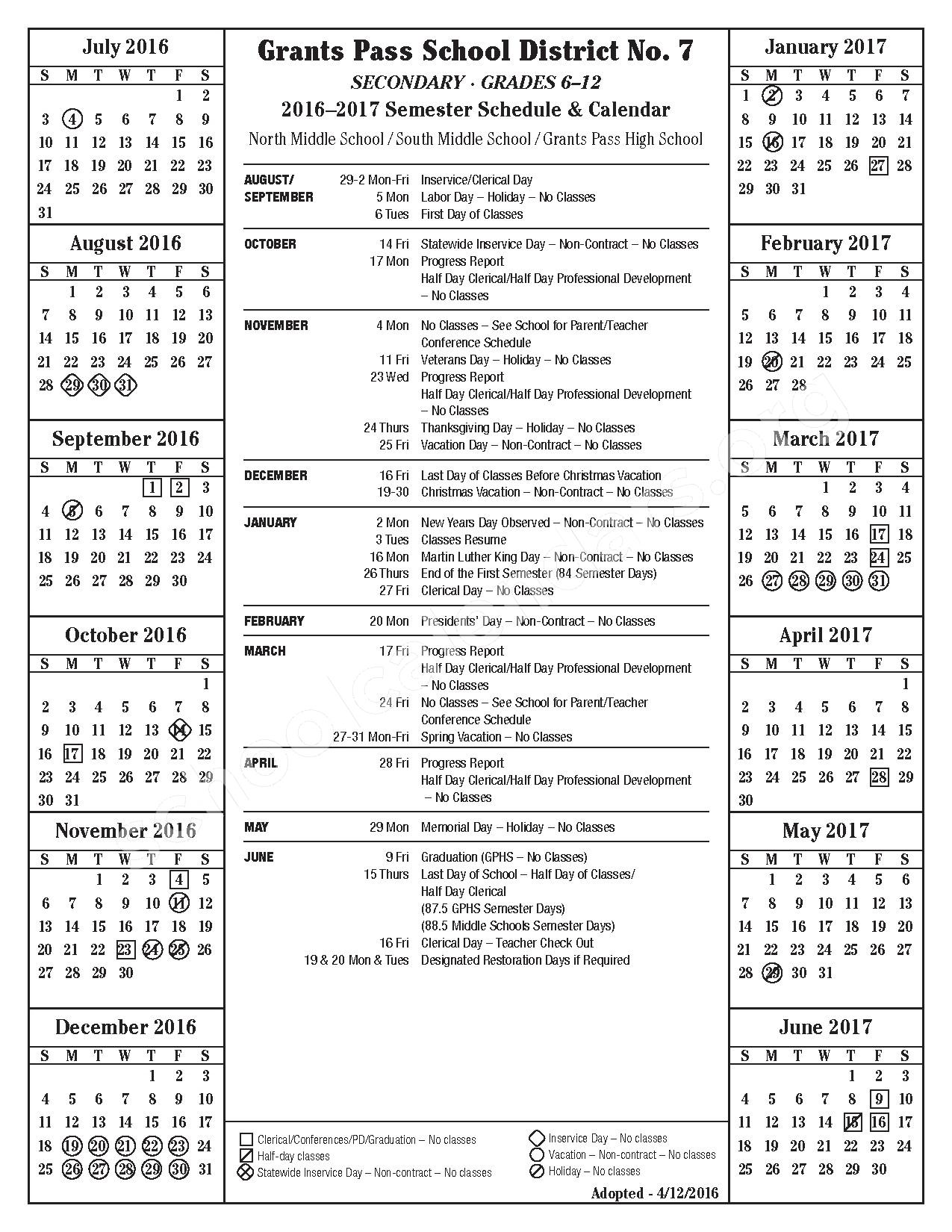 2016 - 2017 School Calendar – Grants Pass School District 7 – page 1