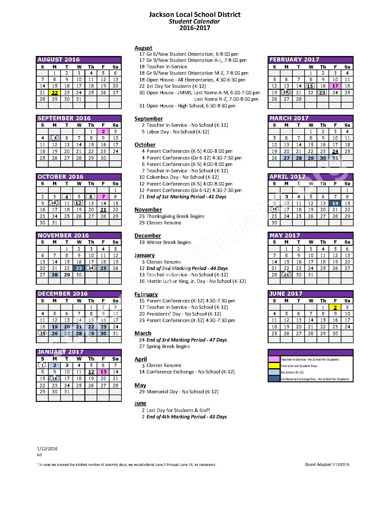2016 - 2017 District Calendar – Strausser Elementary School – page 1