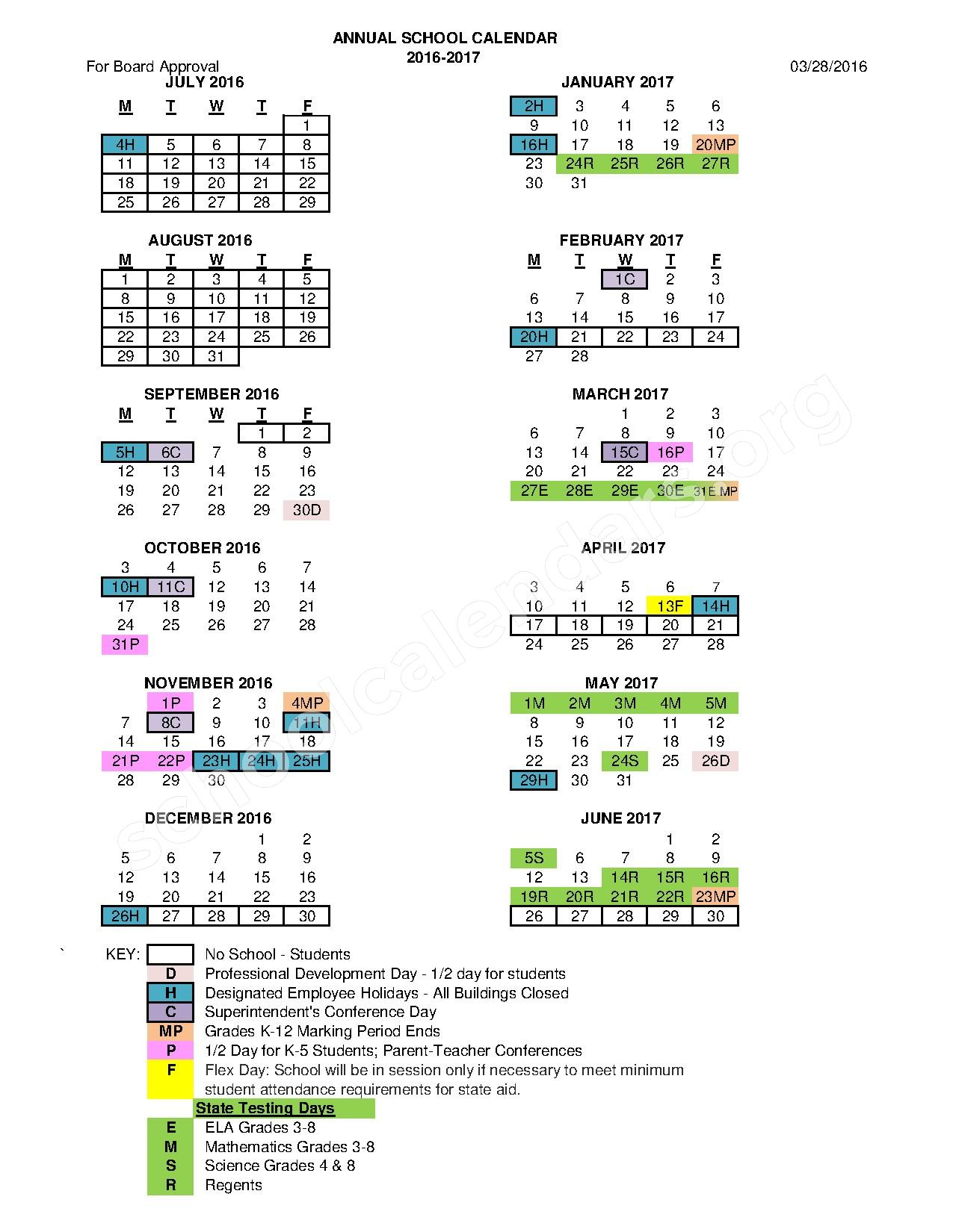 2016 - 2017 District Calendar – Catherine M McNamara Elementary School – page 1