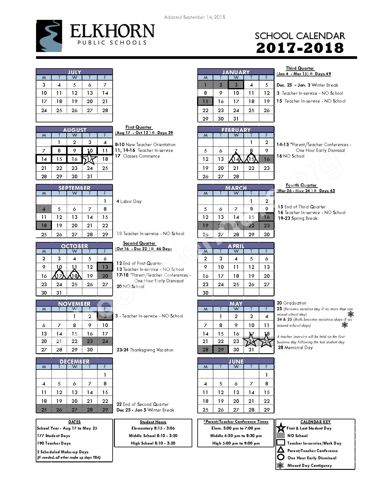 2017 - 2018 District Calendar – Elkhorn Public Schools – page 1