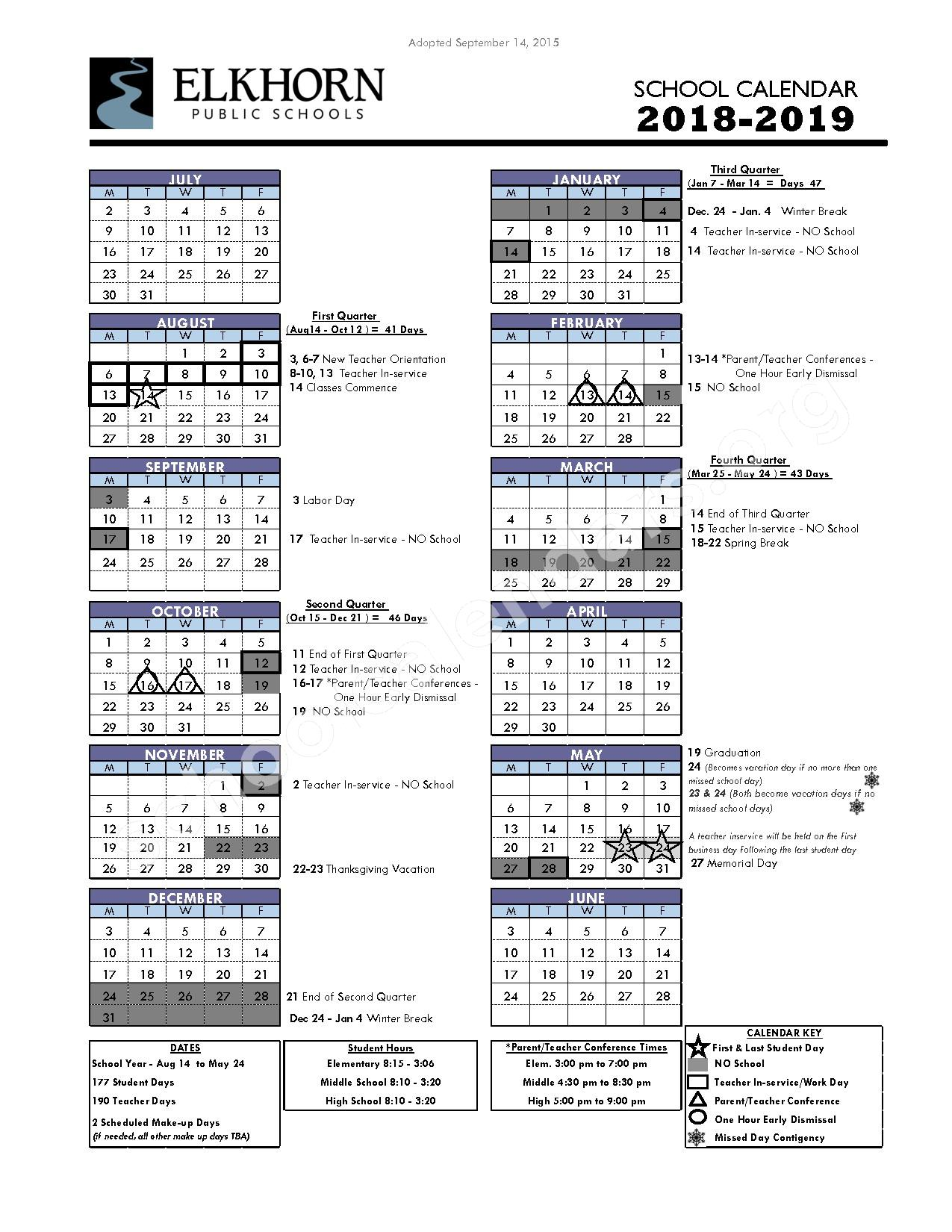 2018 - 2019 District Calendar – Manchester Elementary School – page 1