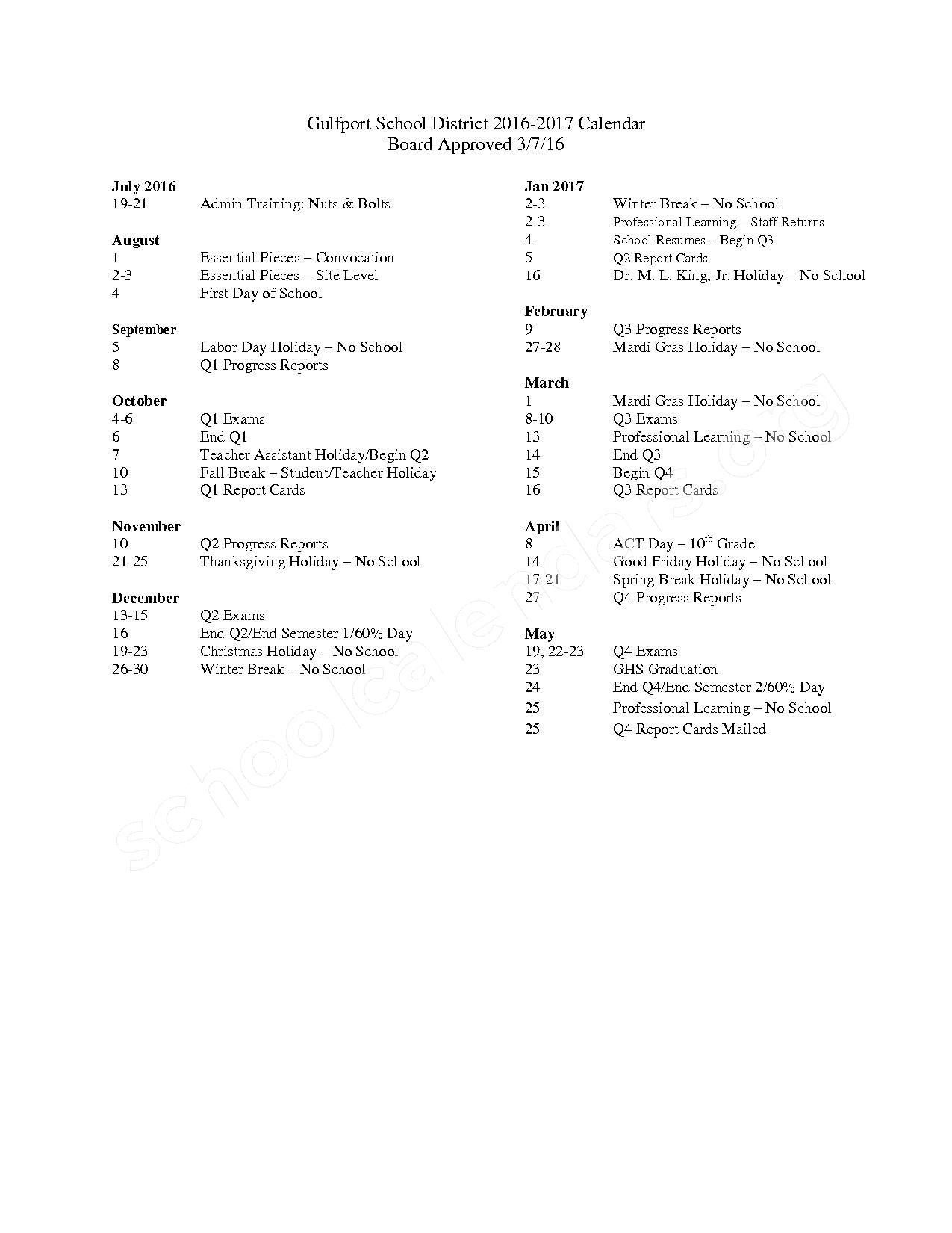 2016 - 2017 School Calendar – Central Elementary School – page 1