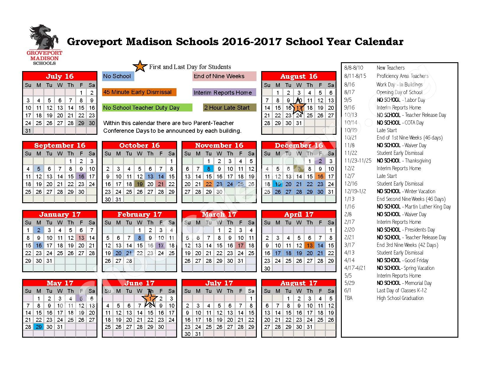 2016 - 2017 School Calendar – Groveport Madison Junior High School – page 1