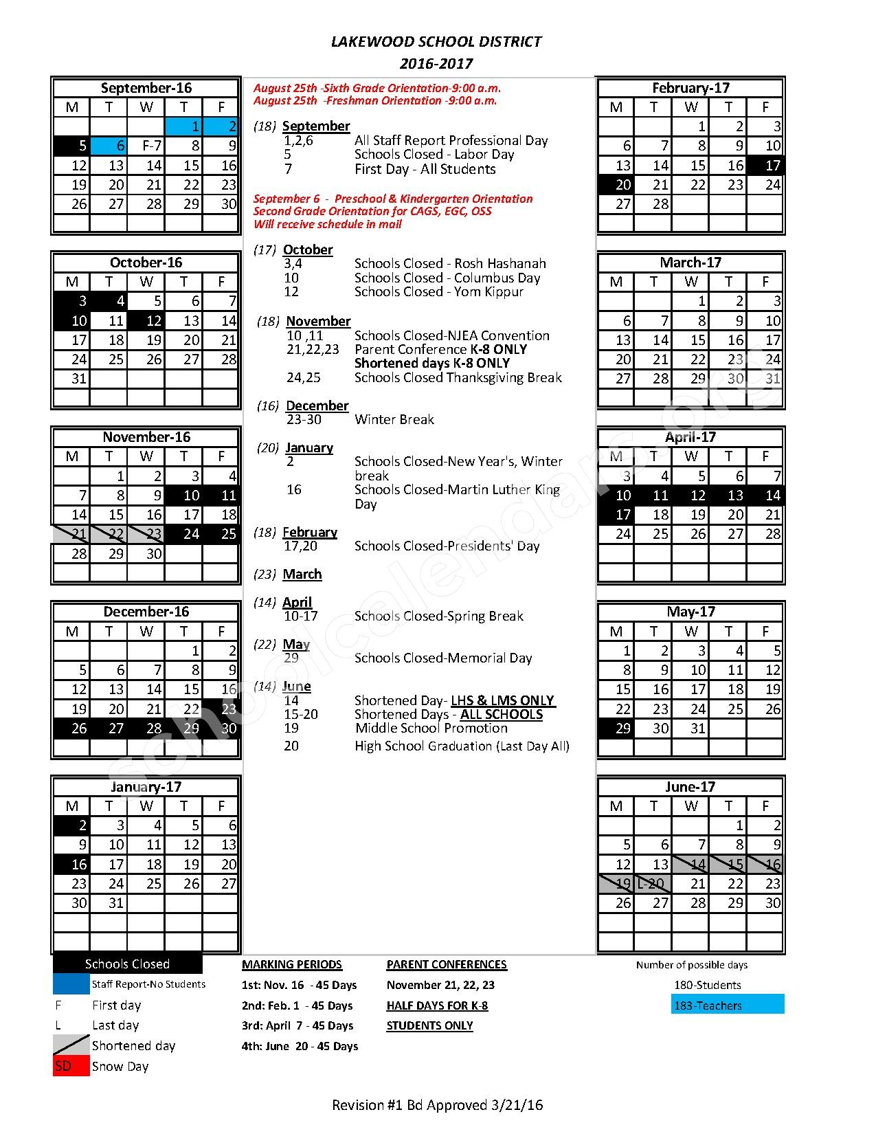 2016 - 2017 District Calendar – Clifton Ave Grade School – page 1