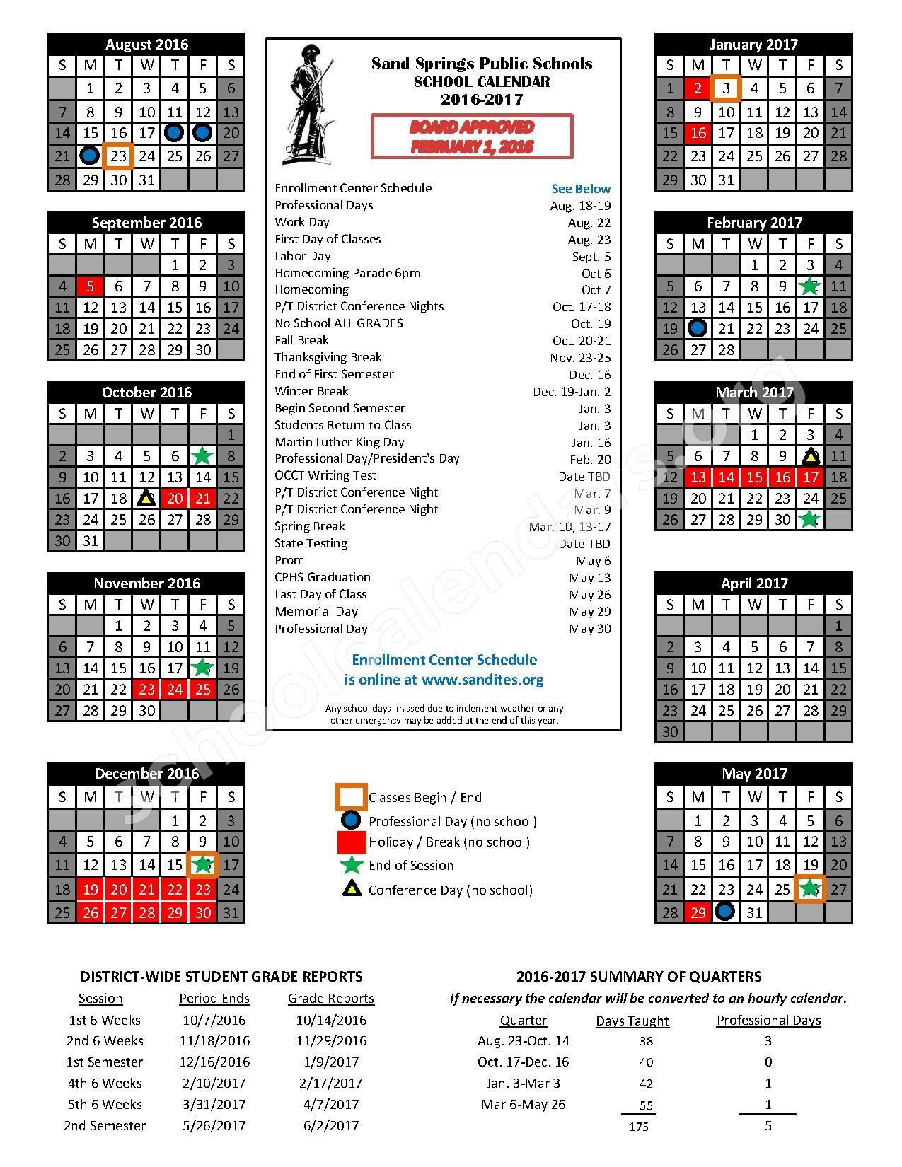 2016 - 2017 School Calendar – Sand Springs Public Schools – page 1