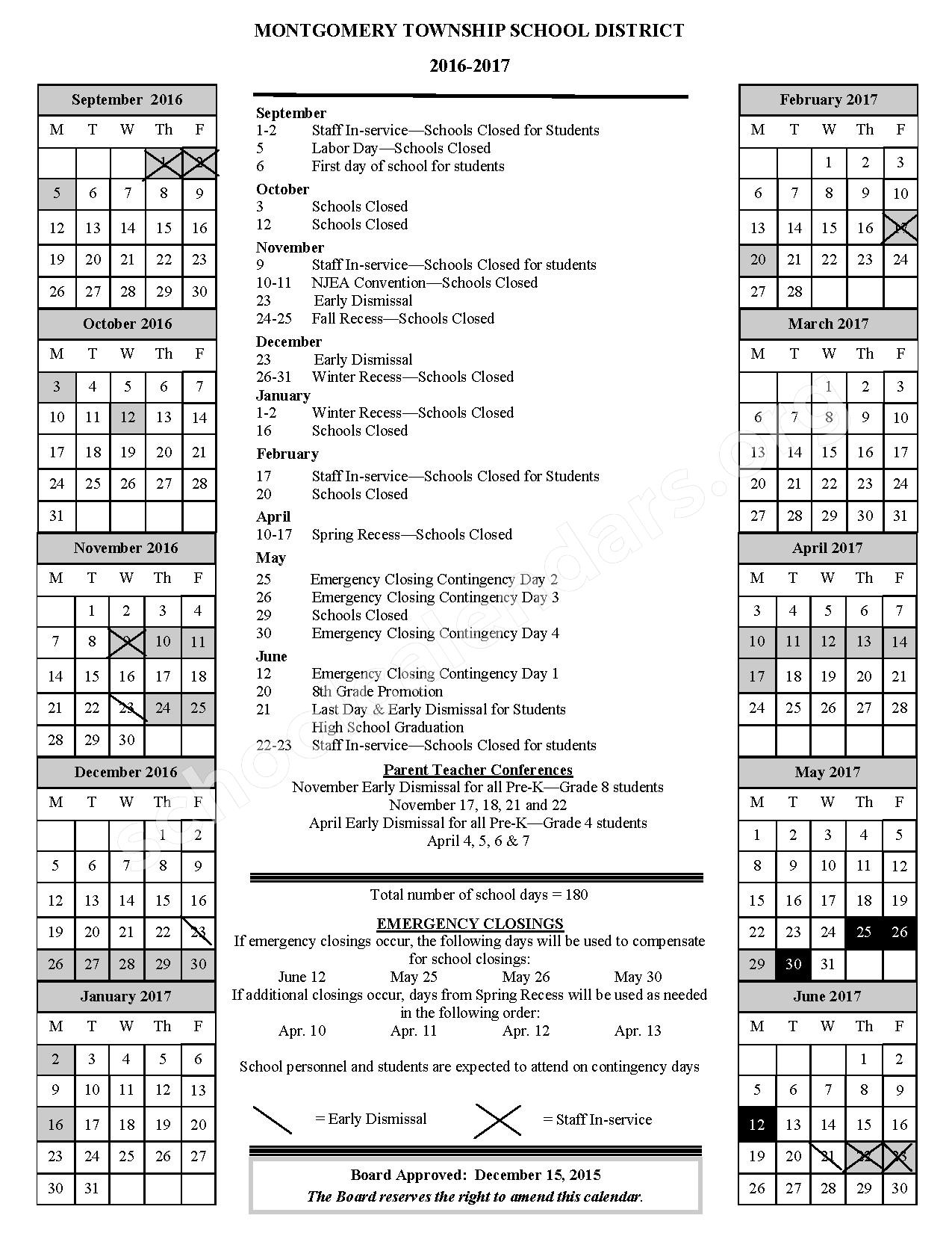 2016 - 2017 District Calendar – Montgomery Upper Mid School – page 1