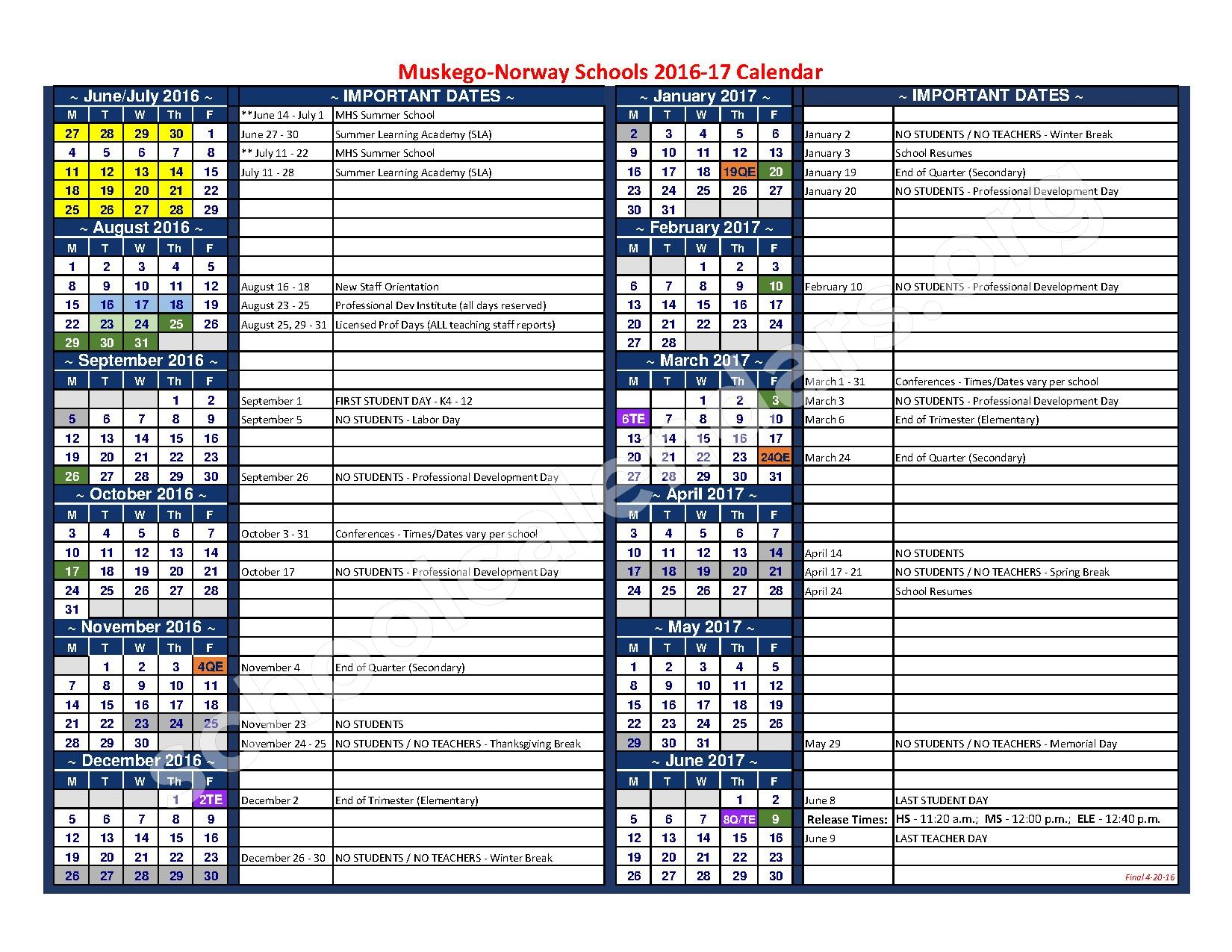 2016 - 2017 District Calendar – Muskego-Norway School District – page 1