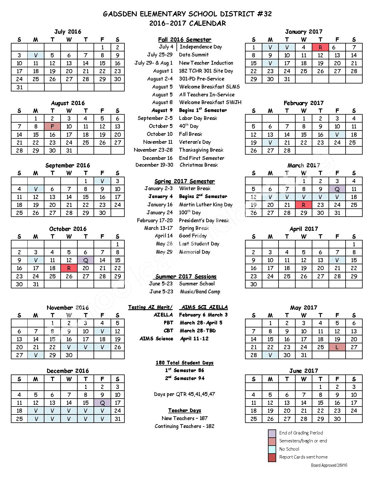 2016 - 2017 District Calendar – Gadsden Elementary School District #32 – page 1