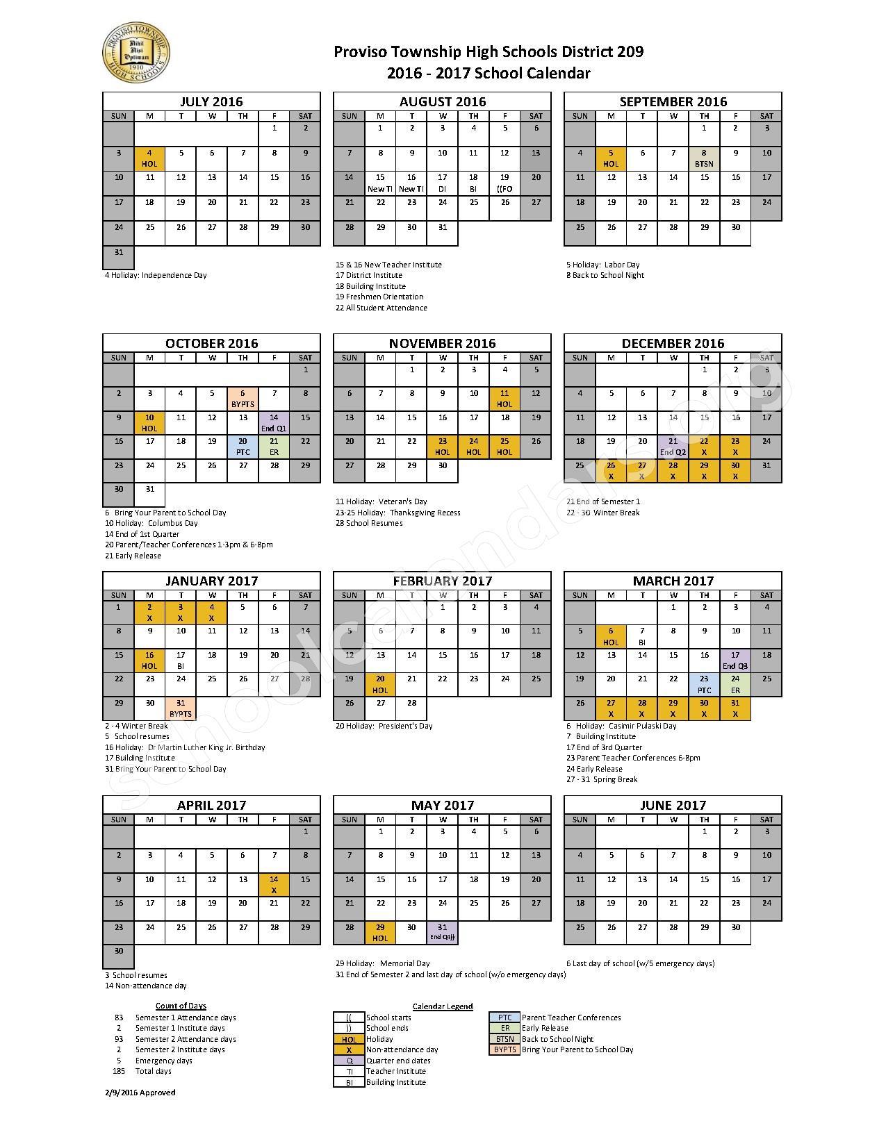 2016 - 2017 PTHS 209 District Calendar – Proviso Township High Schools District 209 – page 1