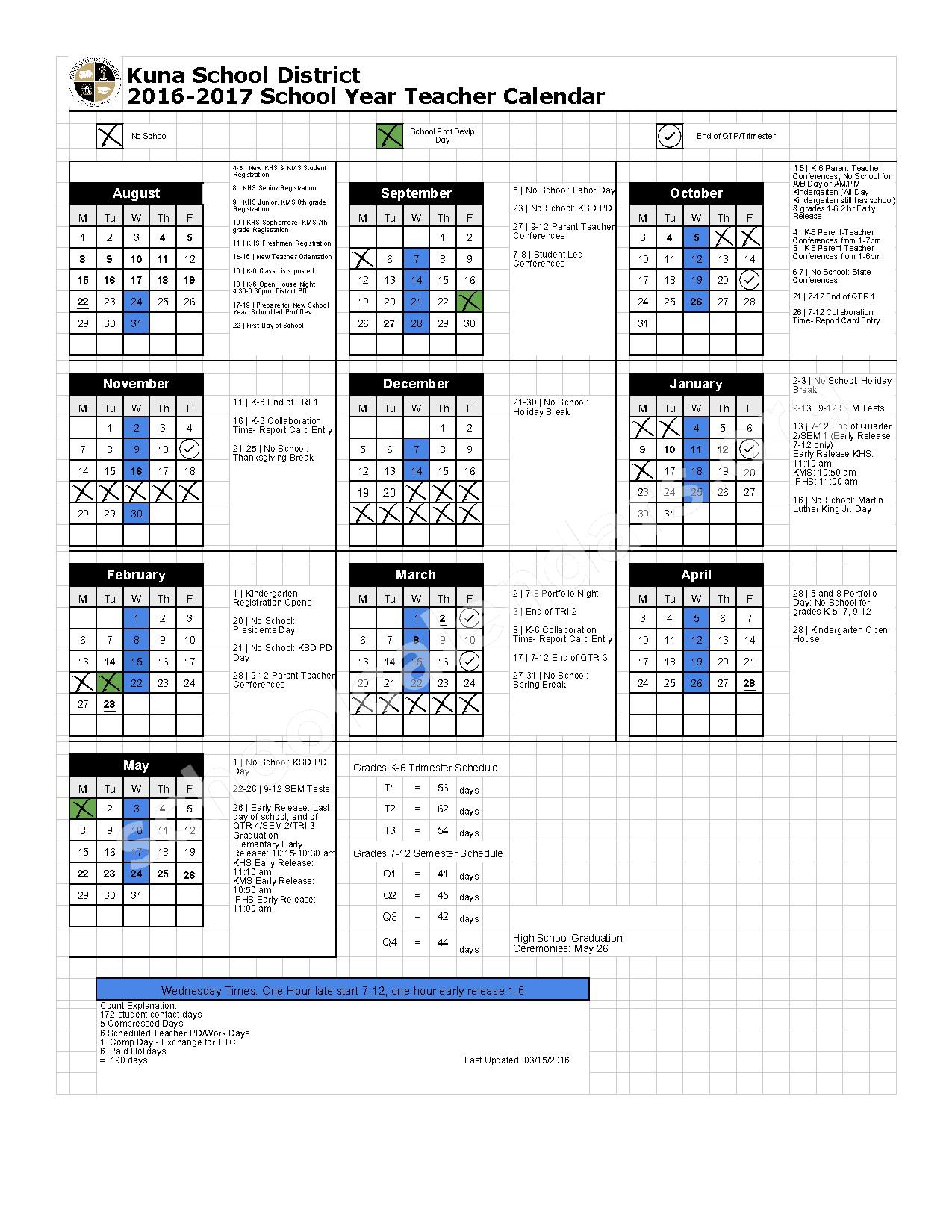 2016 - 2017 Teacher Calendar – Kuna School District – page 1