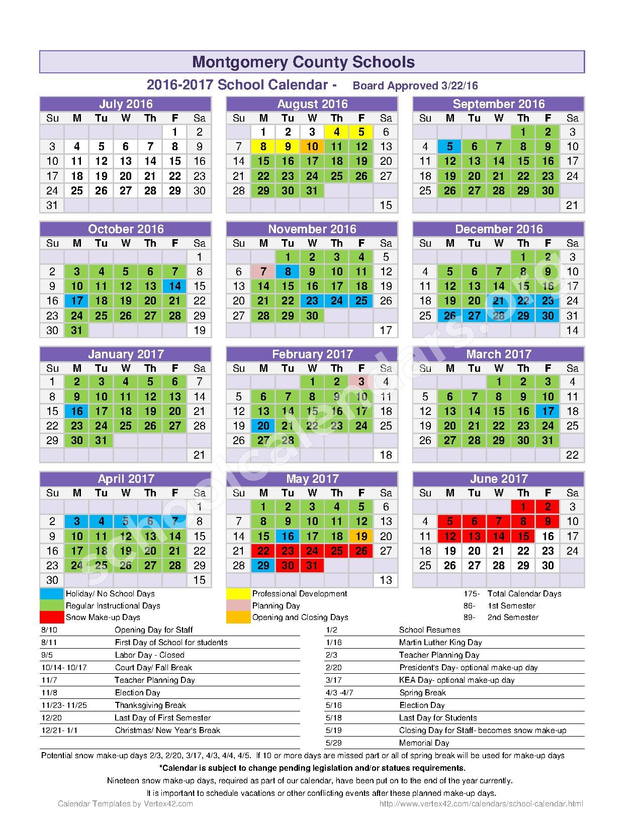 2016 - 2017 School Calendar – Mount Sterling Elementary School – page 1
