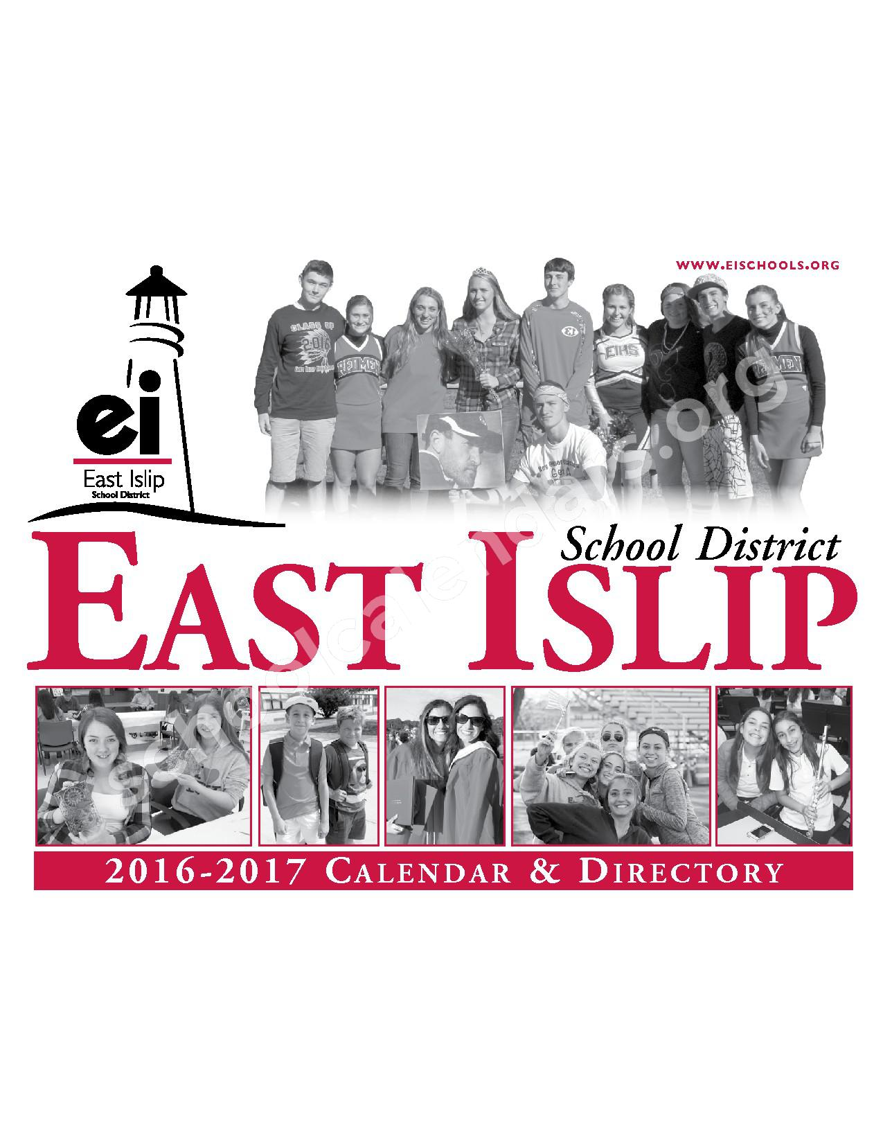 2016 - 2017 District Calendar – East Islip Union Free School District – page 1