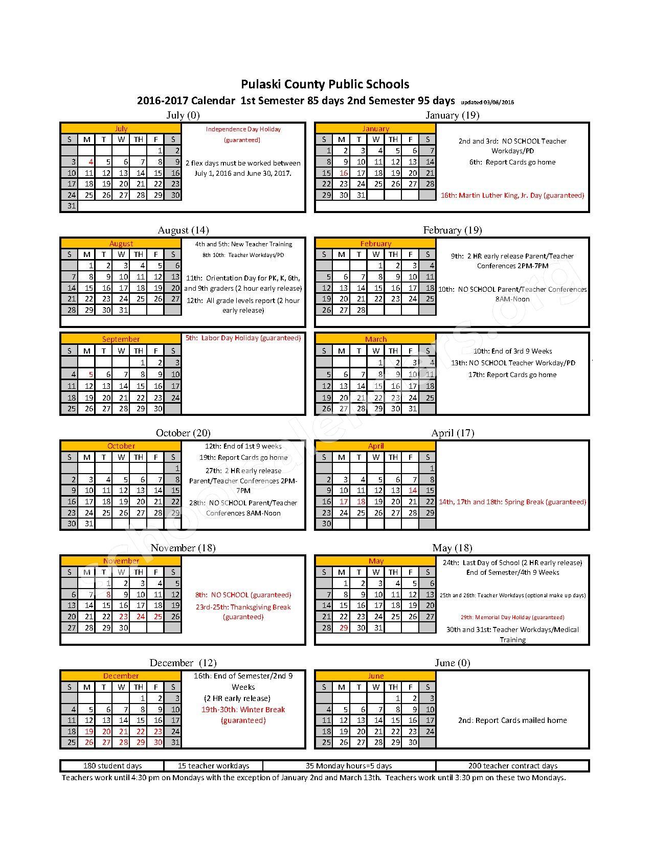 2016 - 2017 District Calendar – Pulaski County Public Schools – page 1