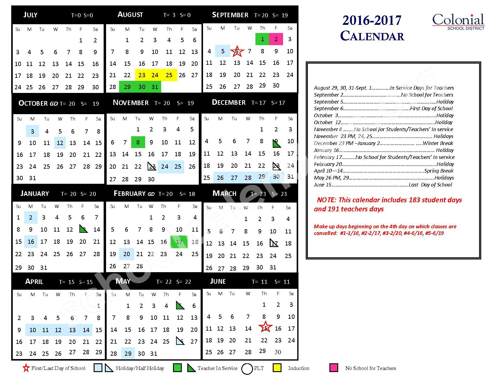 2016 - 2017 District Calendar – Colonial School District – page 1