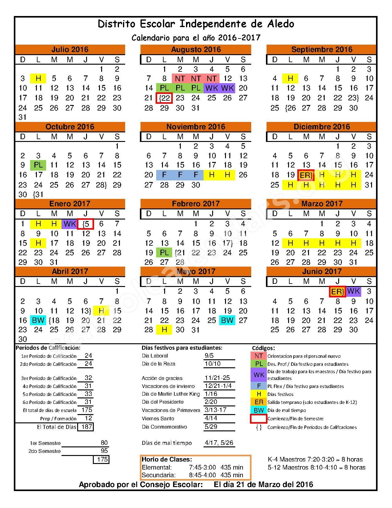 2016 - 2017 District Calendar – Aledo Independent School District – page 1