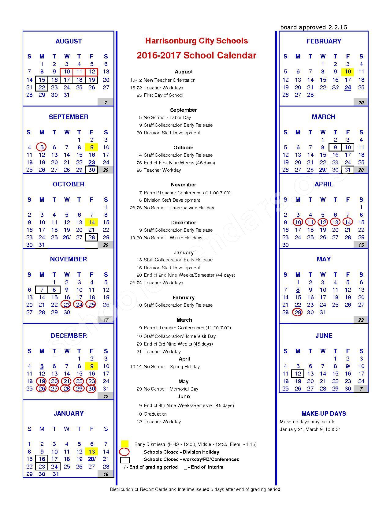 2016 - 2017 District Calendar – Harrisonburg Public Schools – page 1