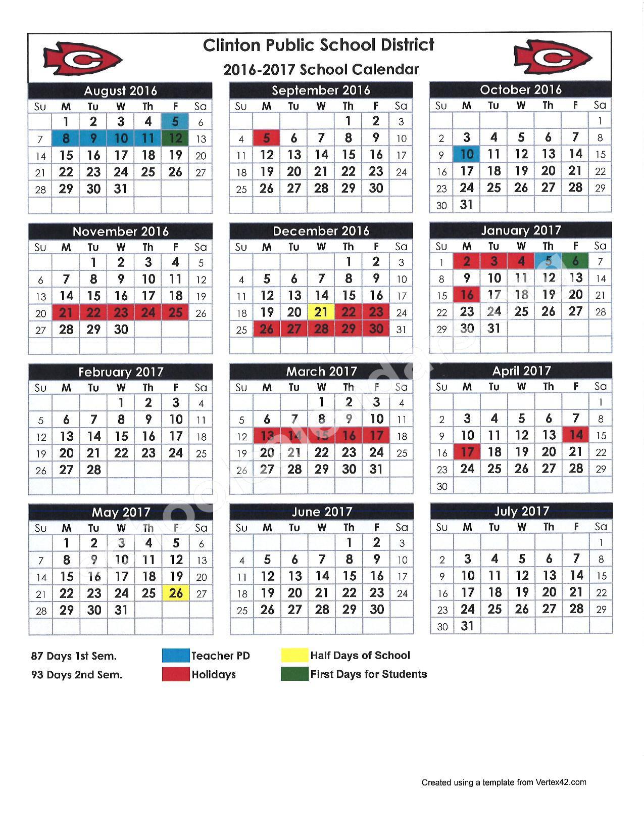 2016 - 2017 School Calendar – Clinton Alternative School – page 1