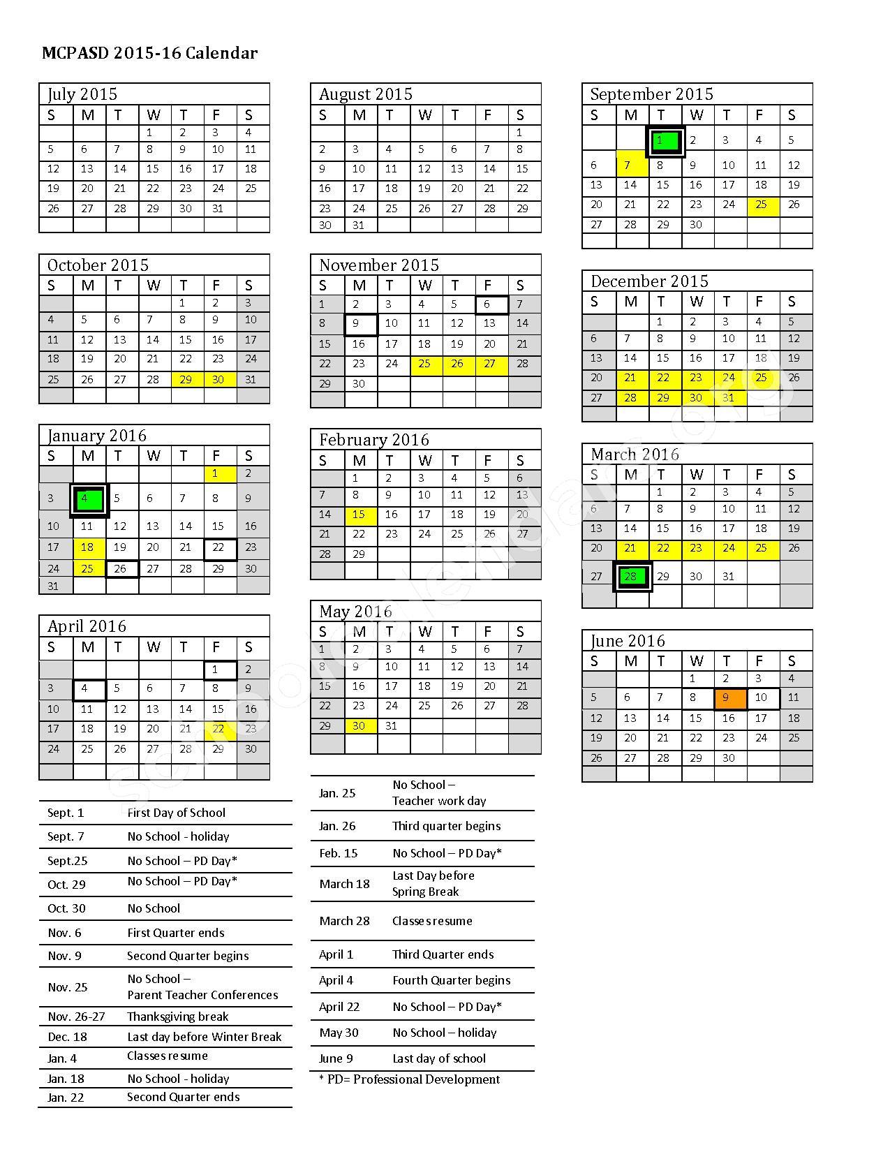 2015 - 2016 District Calendar – Stoner Prairie Elementary School – page 1