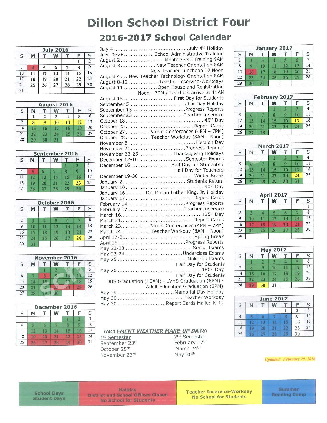 2016 - 2017 School Calendar – Dillon School District 4 – page 1