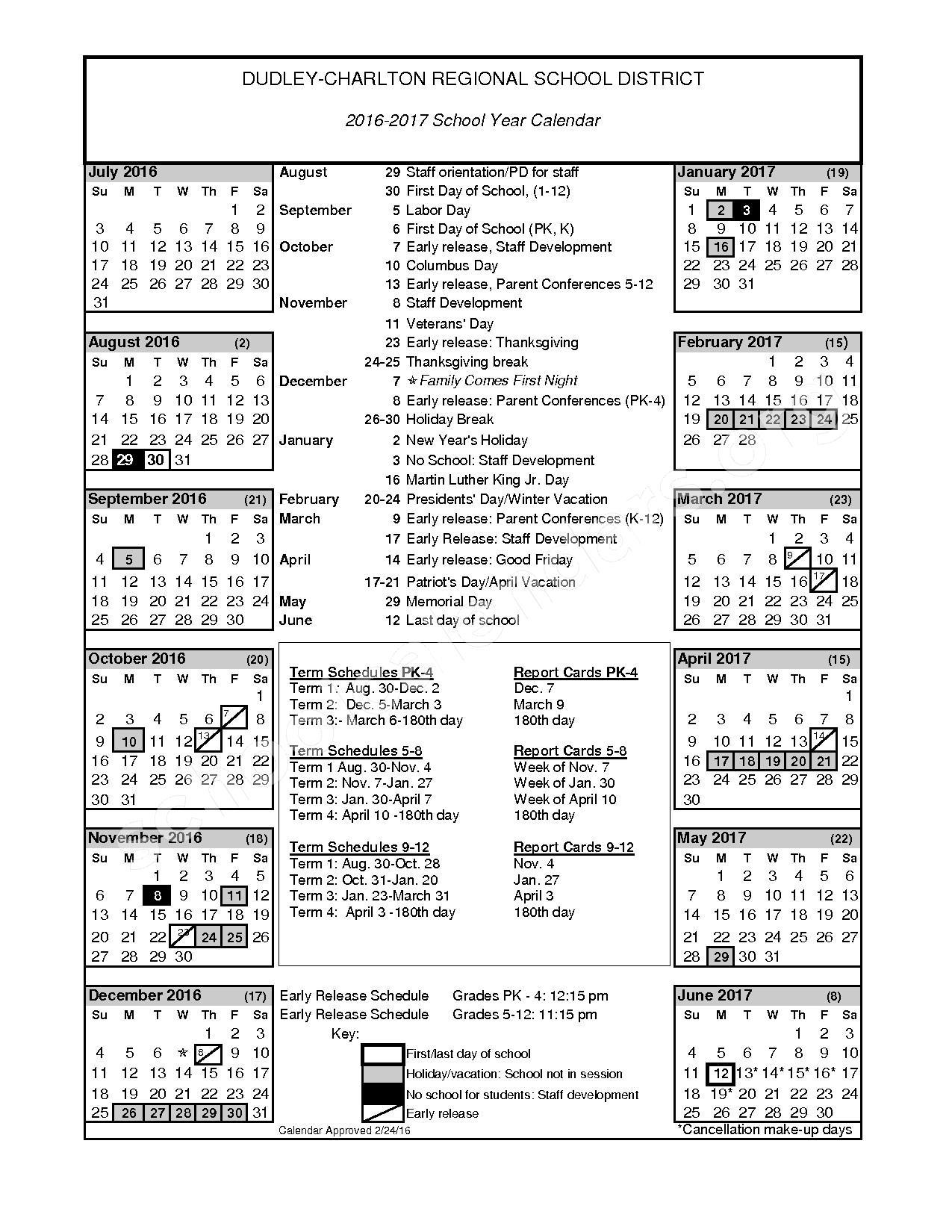 2016 - 2017 District Calendar – Dudley-Charlton Regional School District – page 1