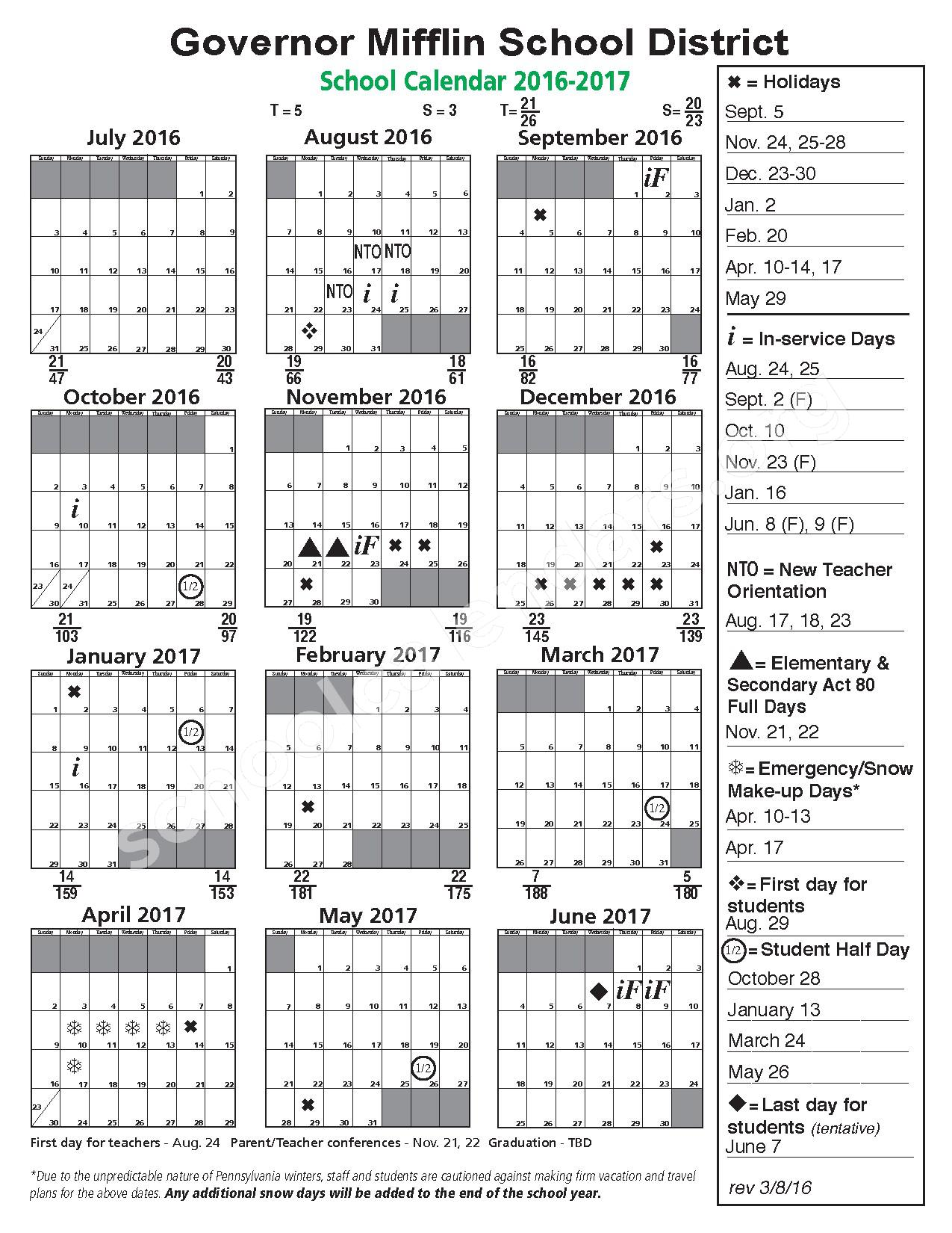 2016 - 2017 School Calendar – Governor Mifflin Senior High School – page 1