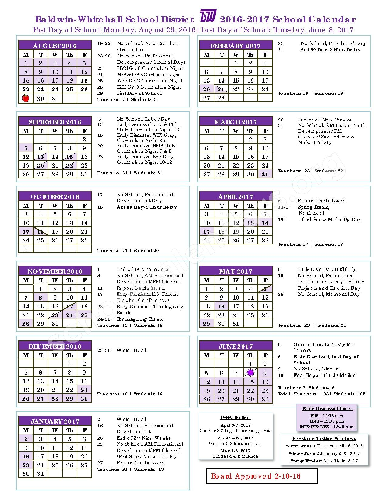 2016 - 2017 District Calendar – Baldwin-Whitehall School District – page 1