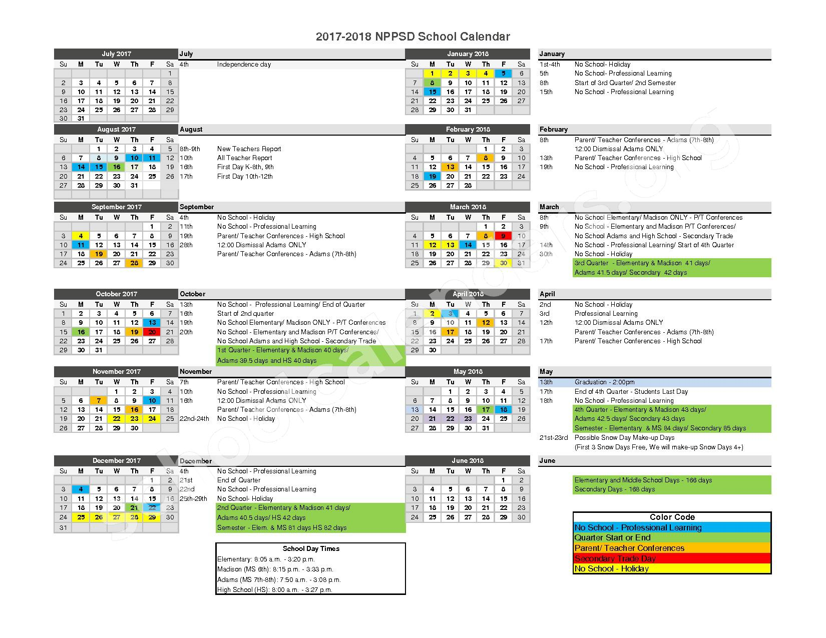 North Platte Public School Calendar 2017 - 2018 – Lake Maloney School – page 1