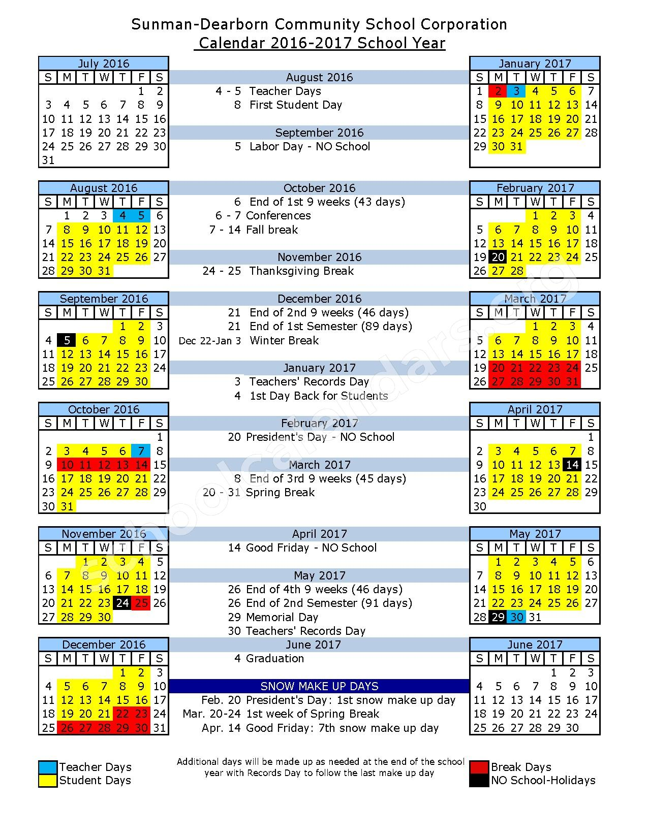 2016 - 2017 School Calendar – Sunman-Dearborn Community School Corporation – page 1