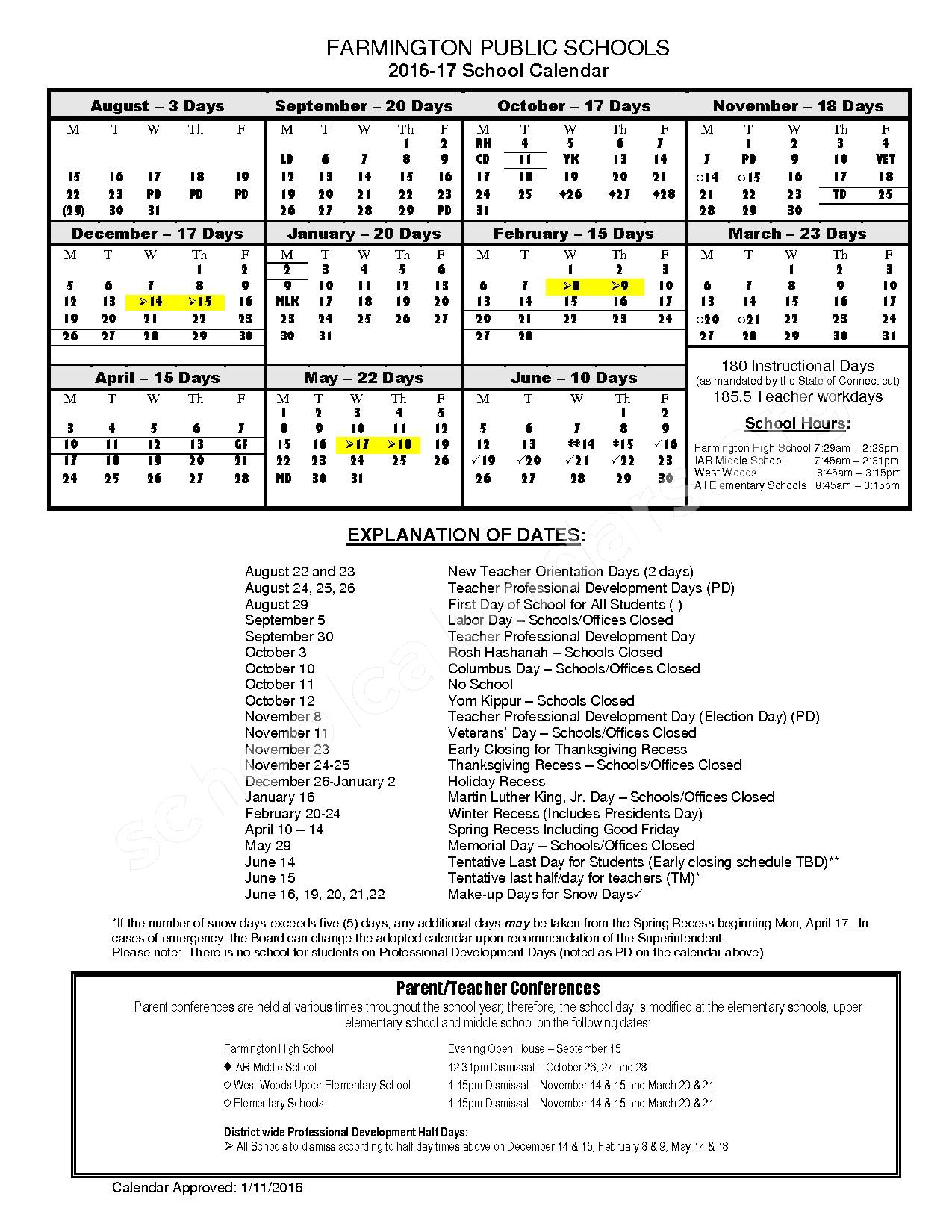 2016 - 2017 Official School Calendar – Noah Wallace School – page 1