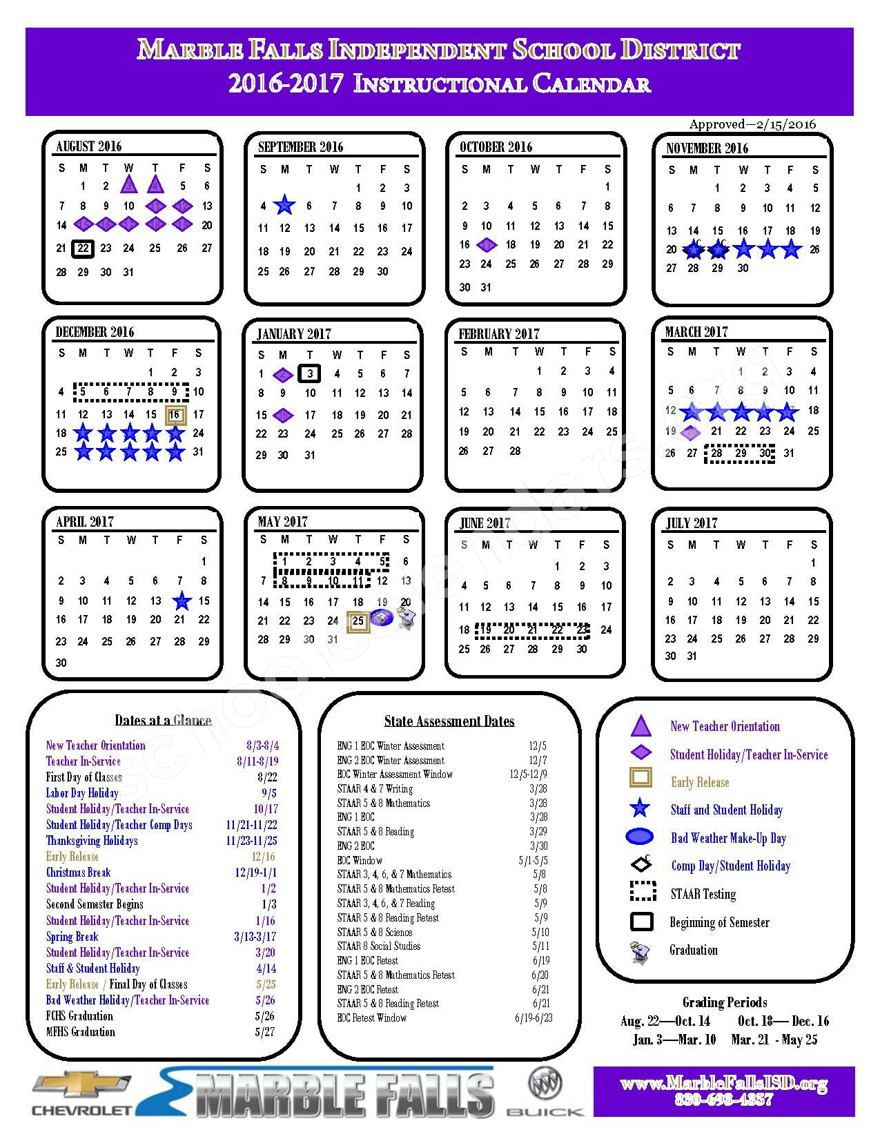 2016 - 2017 Instructional Calendar – Marble Falls Independent School District – page 1
