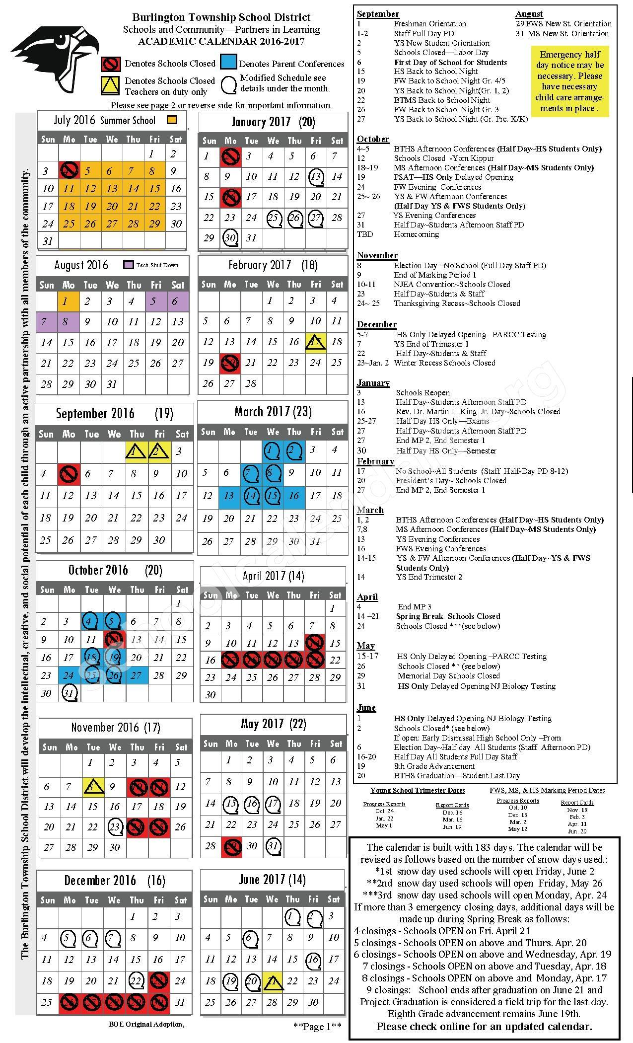 2016 - 2017 Academic Calendar – Burlington Township School District – page 1