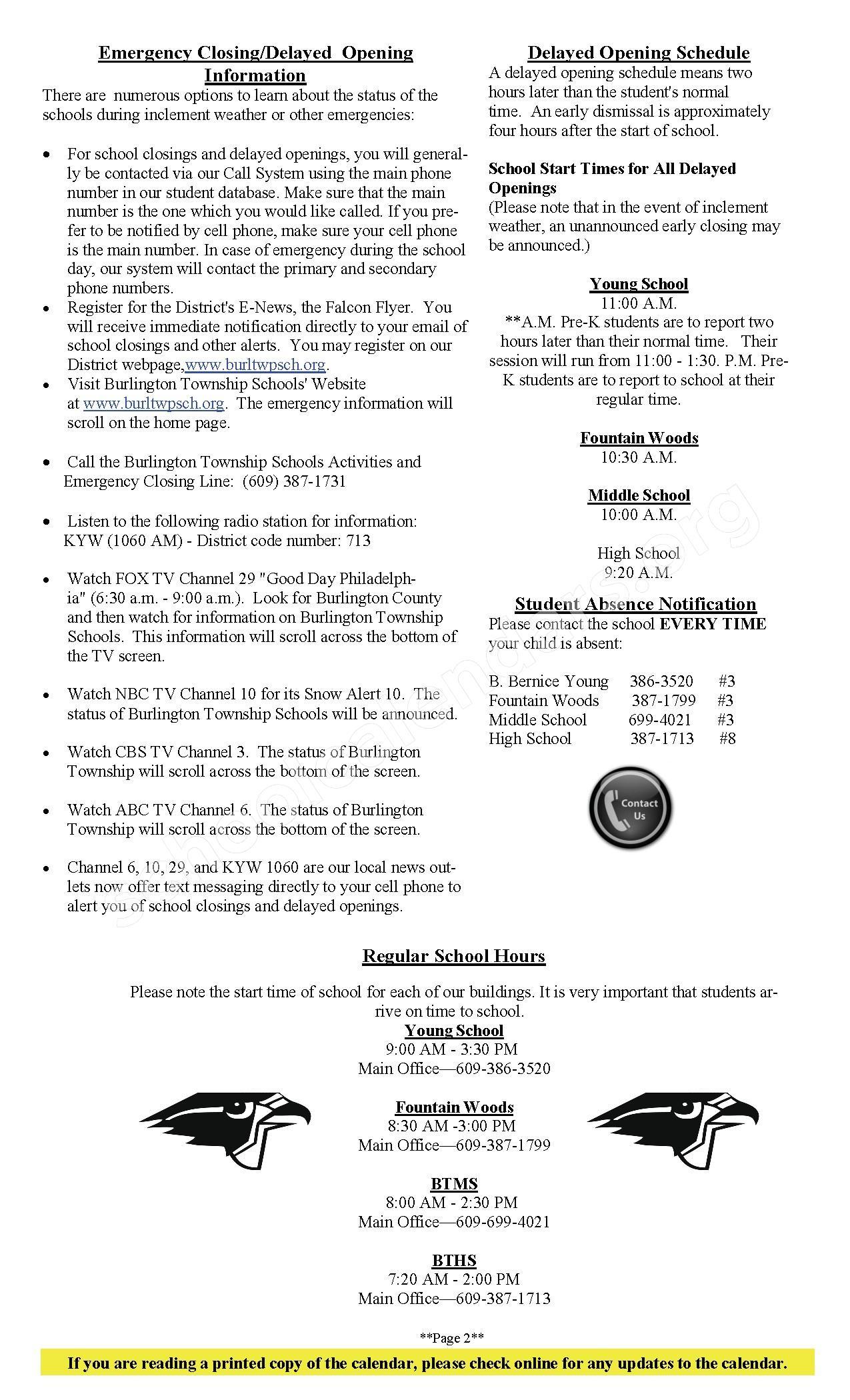 2016 - 2017 Academic Calendar – Burlington Township School District – page 2