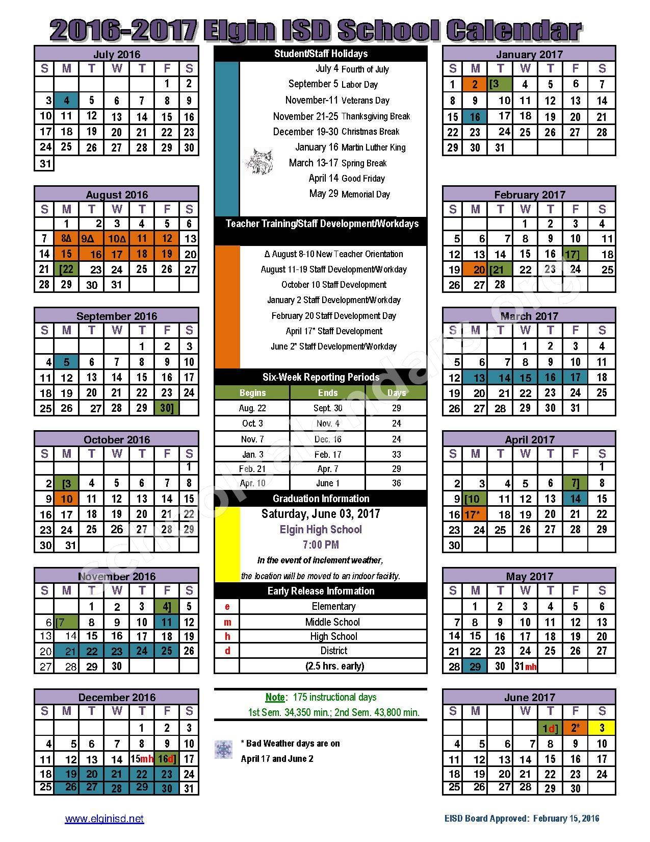 2016 - 2017 District calendar – Elgin Independent School District – page 1