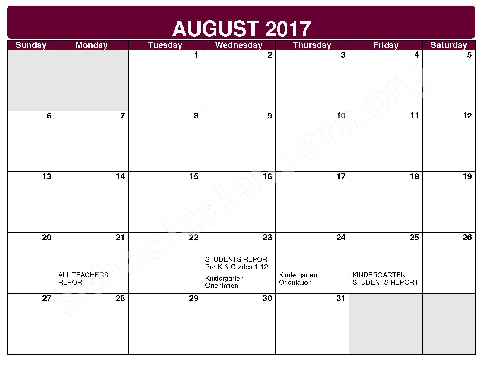 2017 - 2018 District Calendar – Rockside Elementary School – page 1