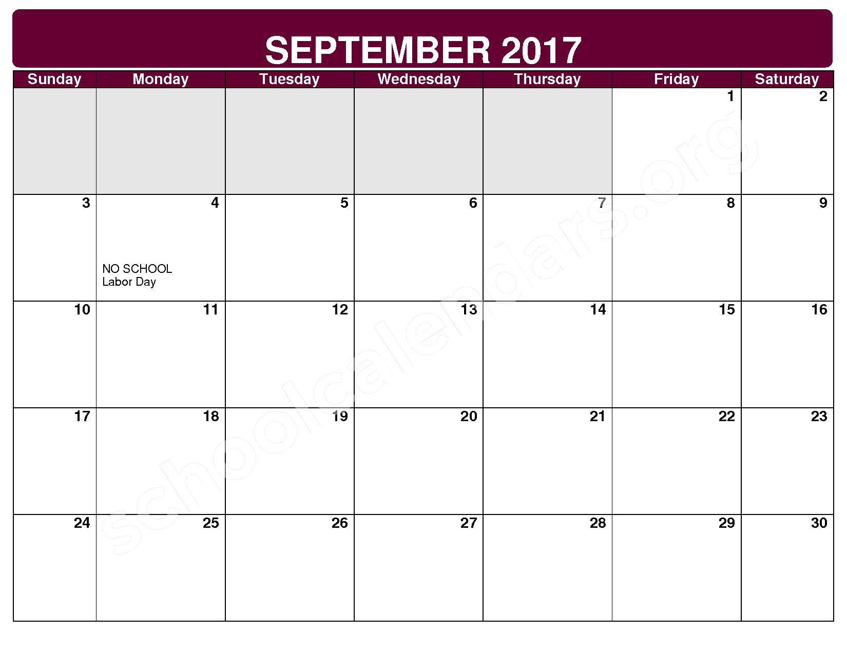 2017 - 2018 District Calendar – Rockside Elementary School – page 2