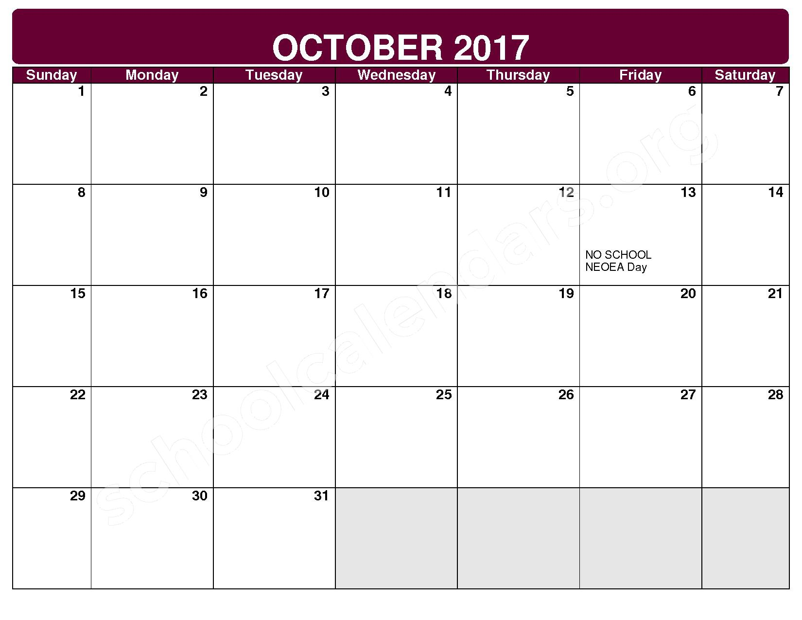 2017 - 2018 District Calendar – Rockside Elementary School – page 3