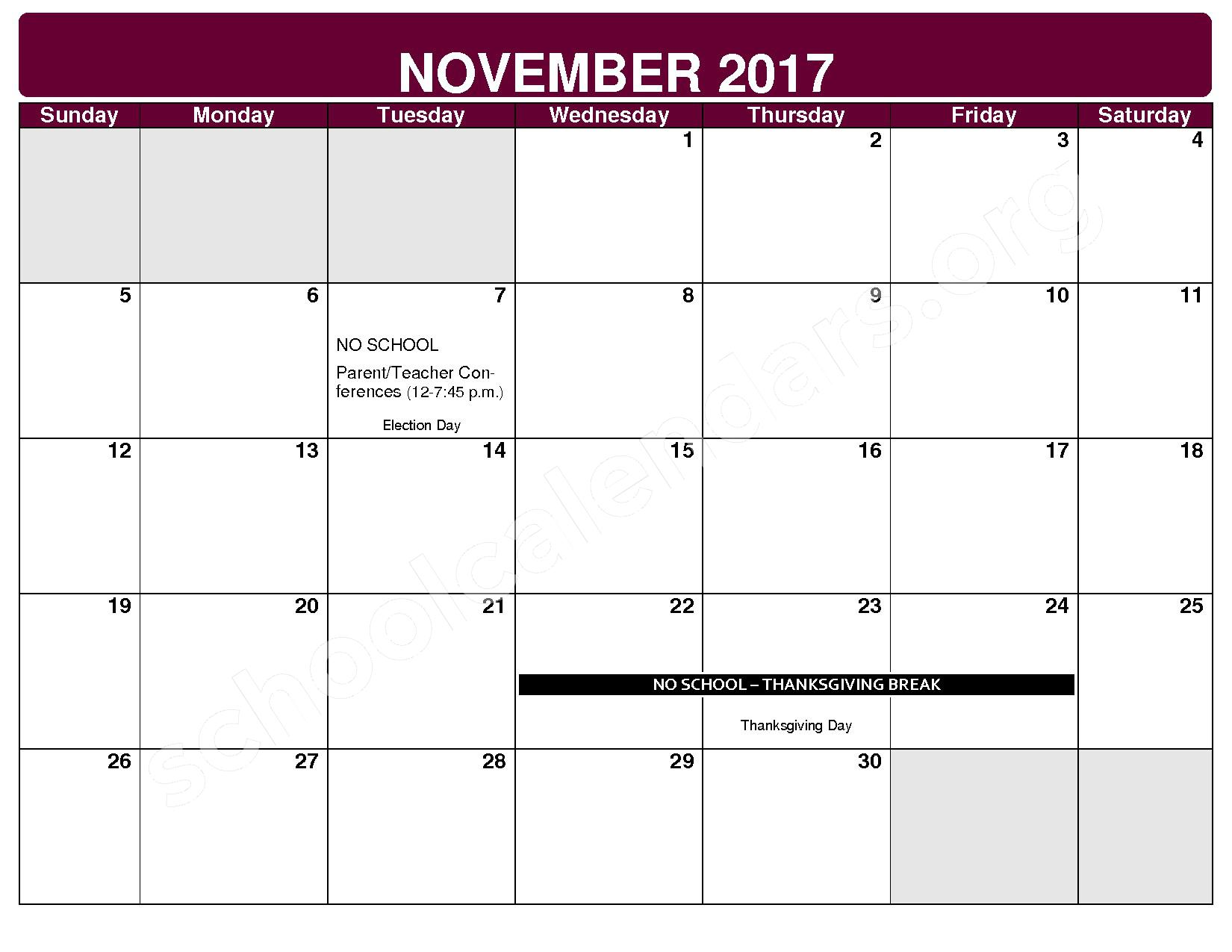 2017 - 2018 District Calendar – Rockside Elementary School – page 4