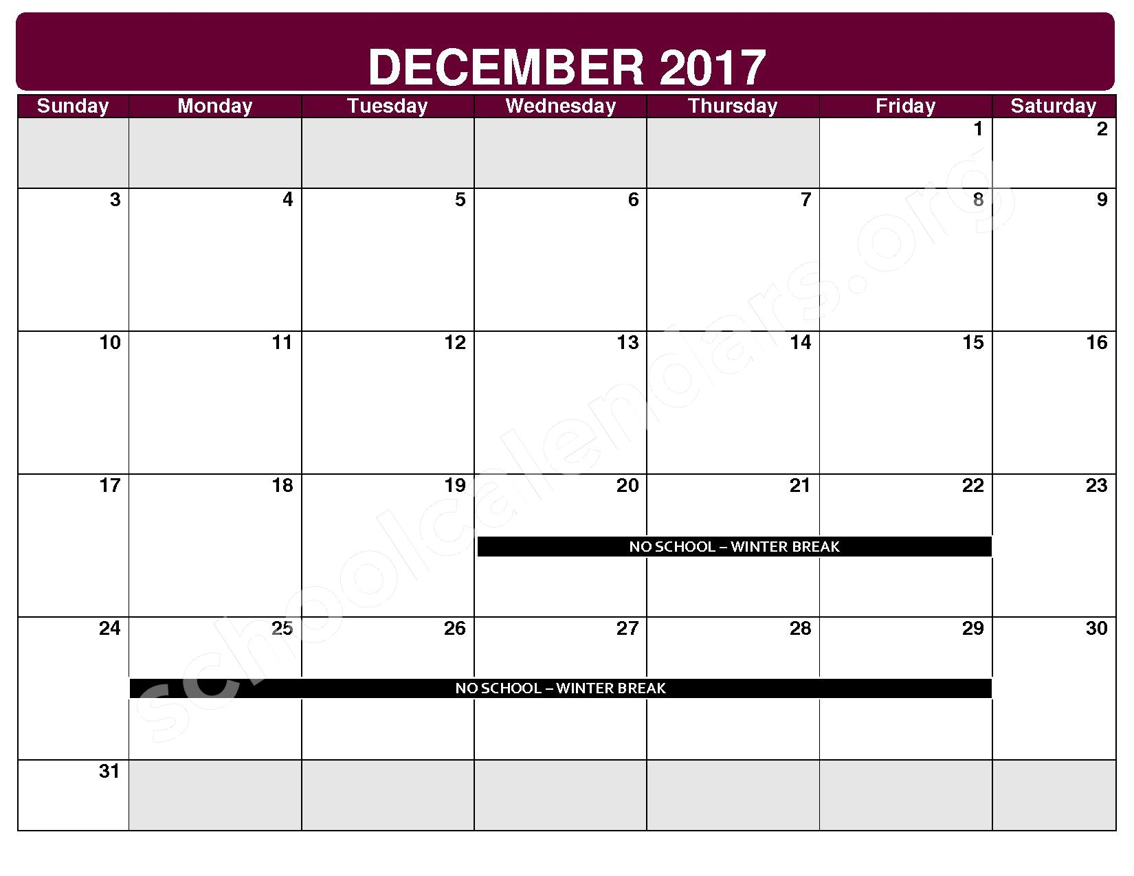 2017 - 2018 District Calendar – Rockside Elementary School – page 5