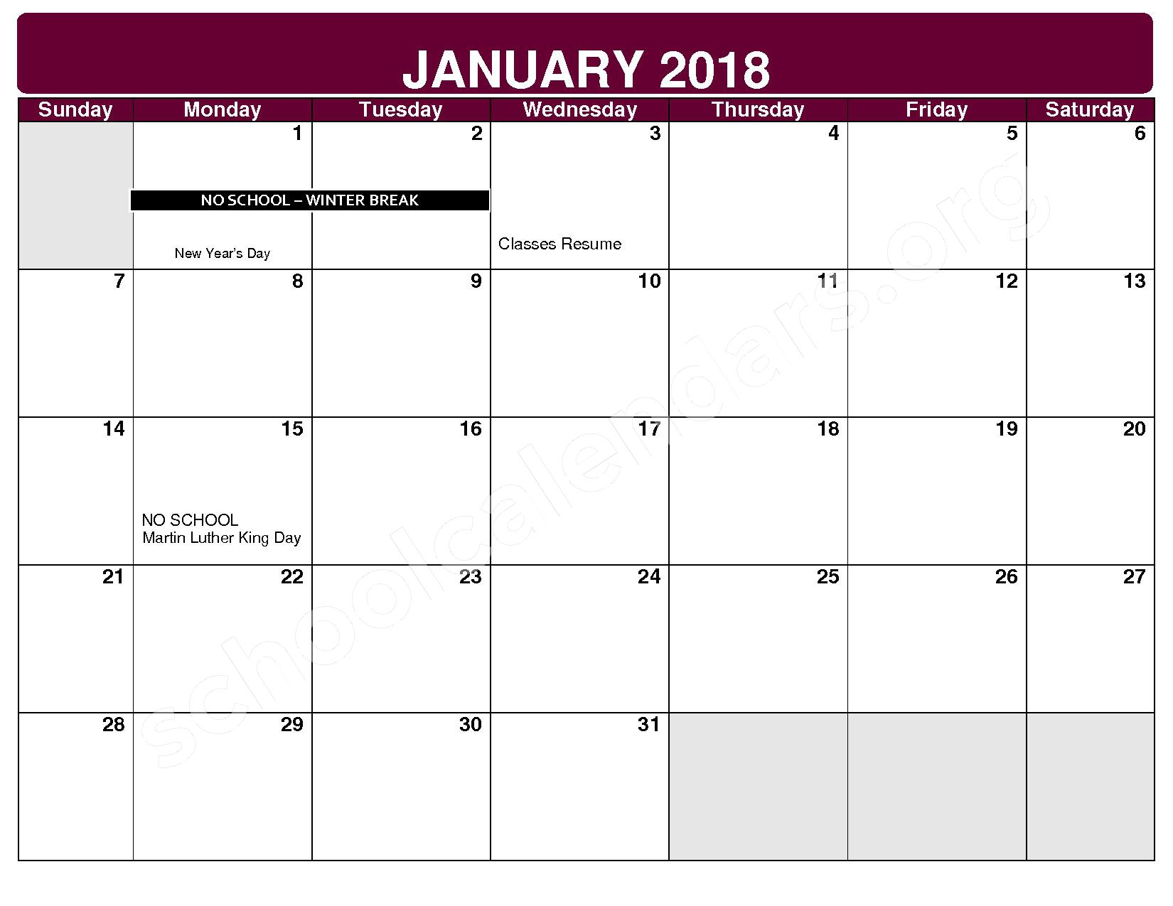 2017 - 2018 District Calendar – Rockside Elementary School – page 6