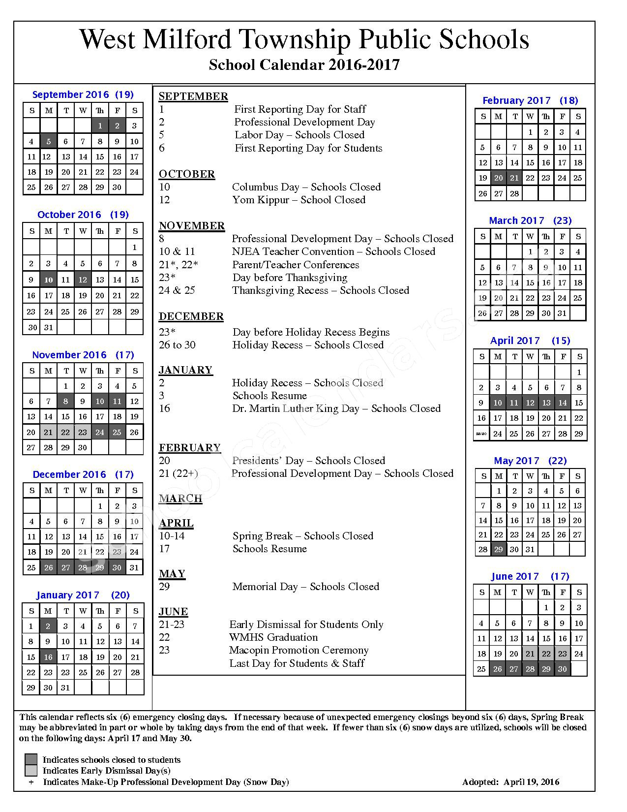 2016 - 2017 School Calendar – Maple Road – page 1
