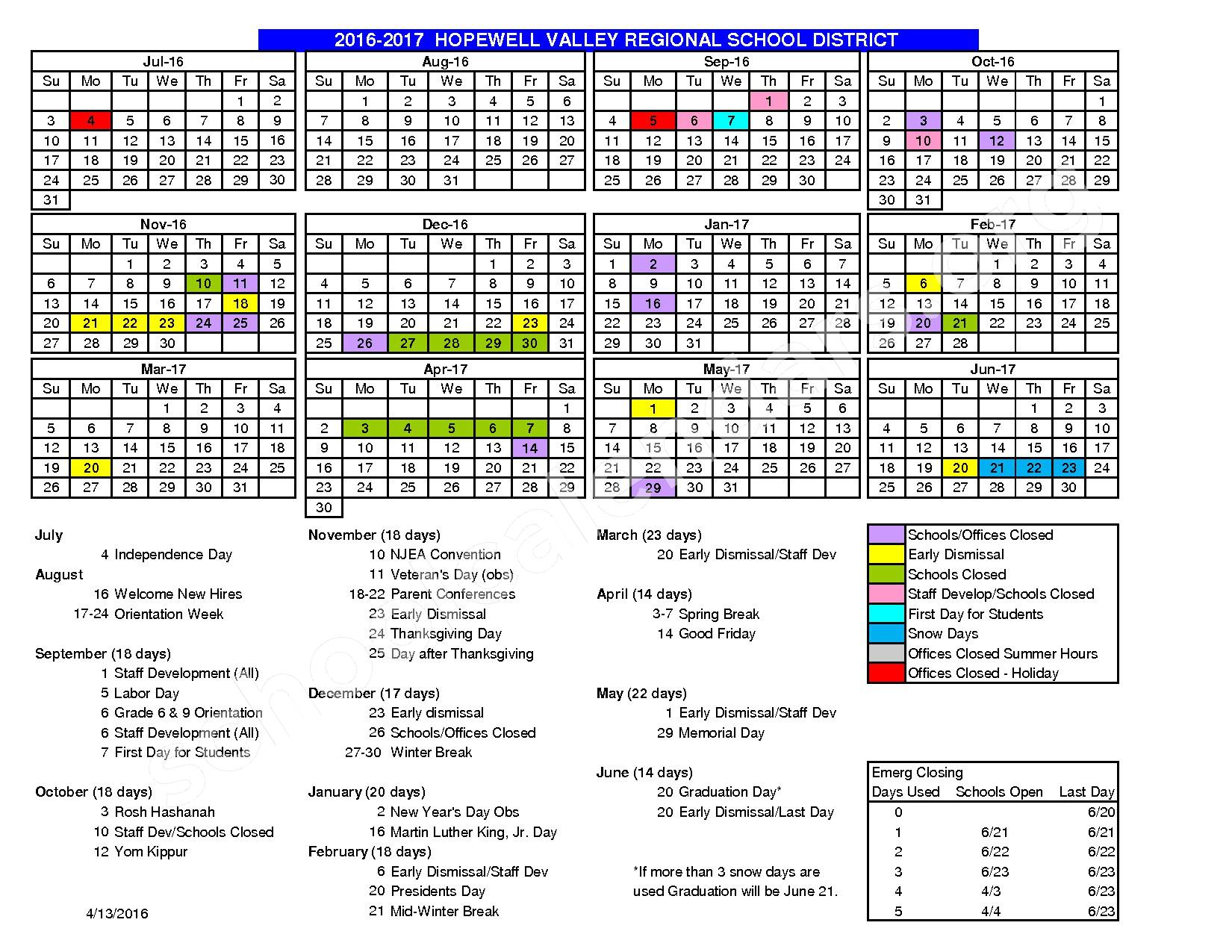 2016 - 2017 School Calendar – Hopewell Valley Regional School District – page 1