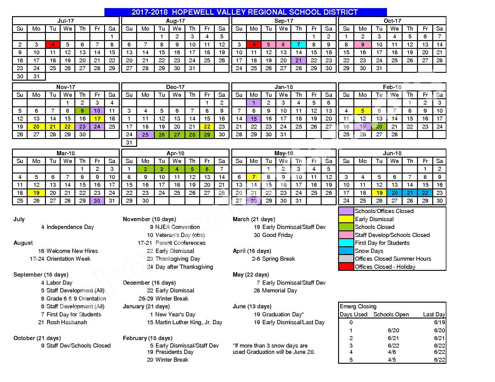 2016 - 2017 School Calendar – Hopewell Valley Regional School District – page 2