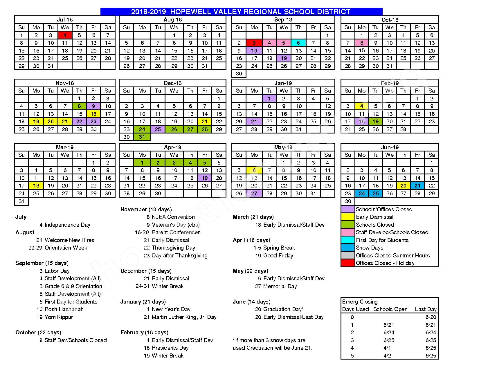 2016 - 2017 School Calendar – Hopewell Valley Regional School District – page 3