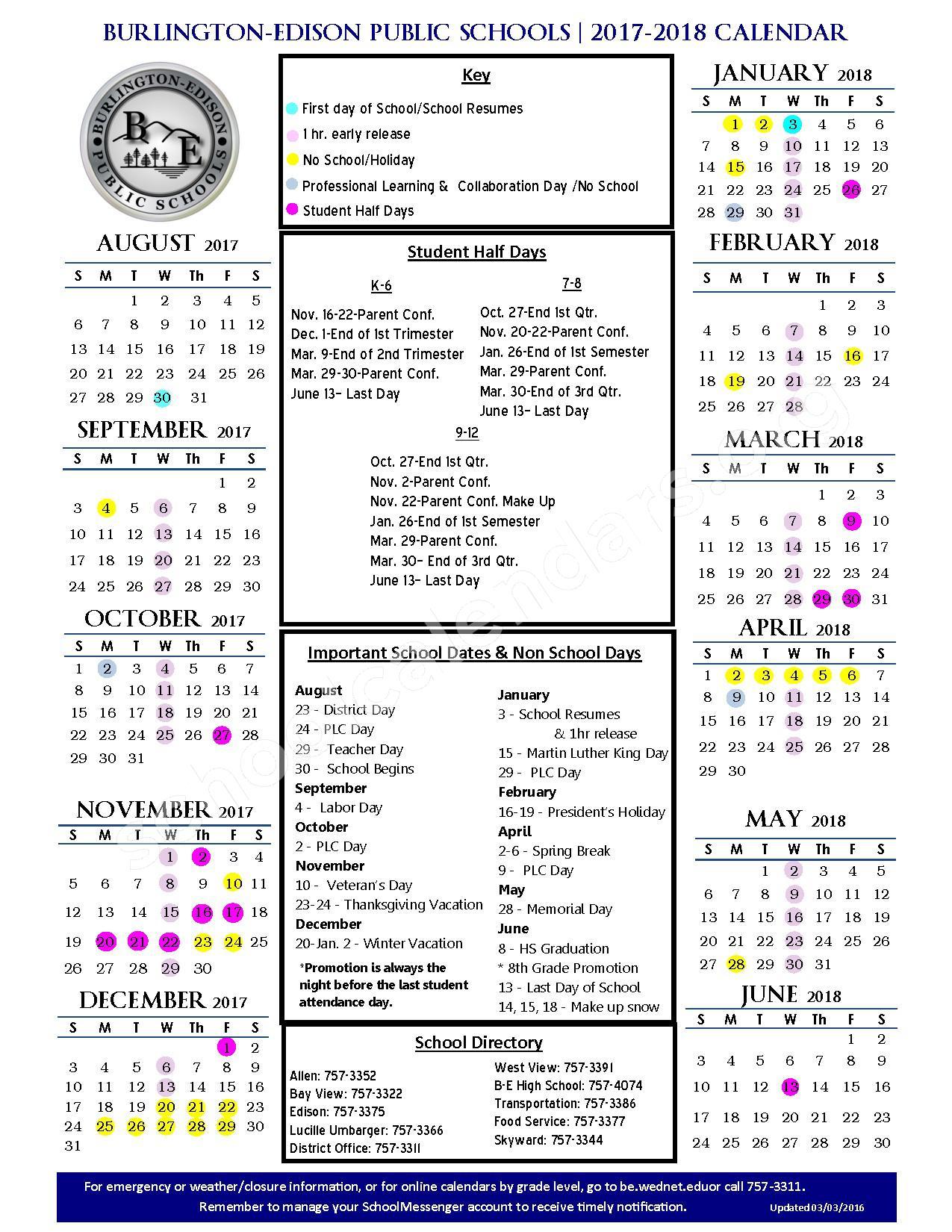 2017 - 2018 School Calendar – Burlington-Edison School District – page 1