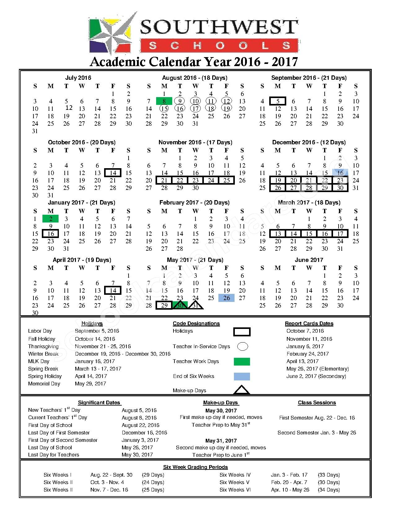 2016 - 2017 District Calendar – Southwest Schools Mangum Elementary Campus – page 1