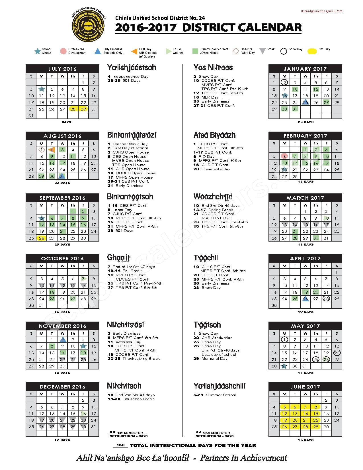 2016 - 2017 District Calendar – Tsaile Elementary School – page 1