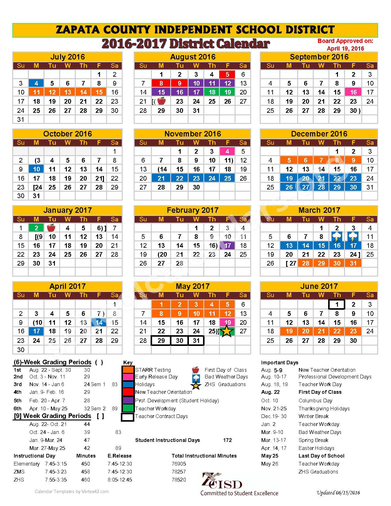 2016 - 2017 District Calendar – Zapata County Independent School District – page 1